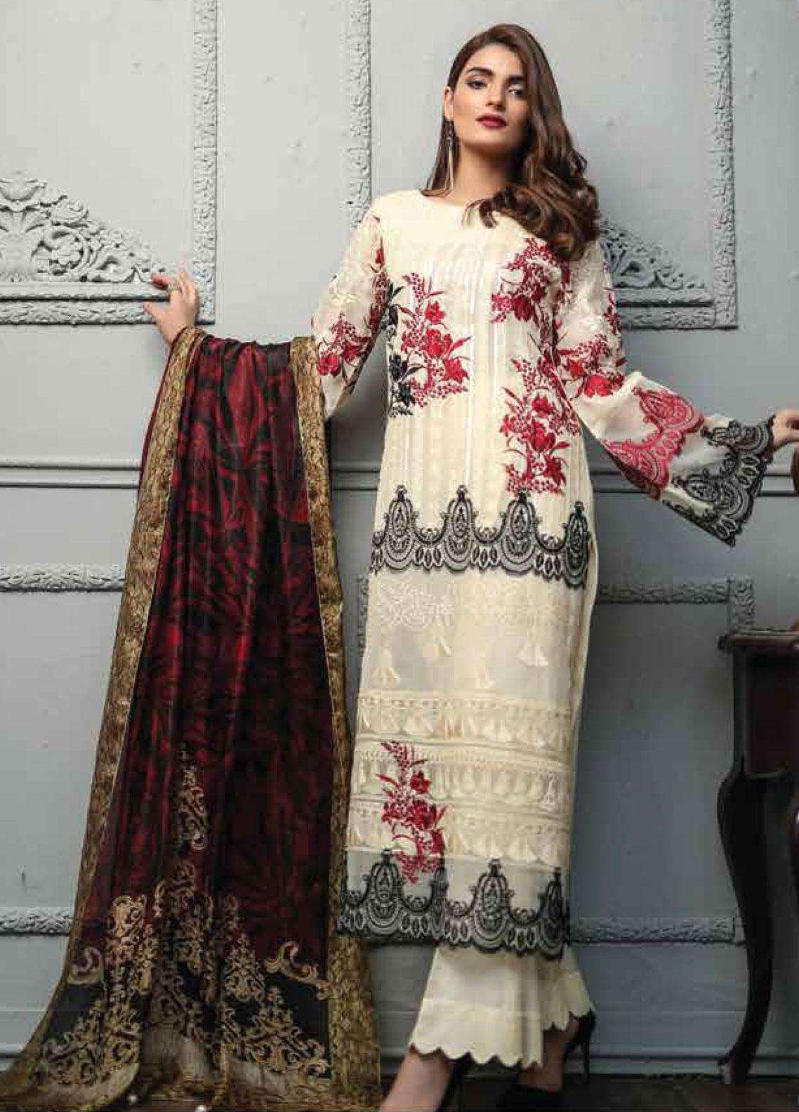 Lakhany Embroidered Cotton Net Unstitched 3 Piece Suit LSM19F 5004 PRISTINE BEAUTY - Festive Collection