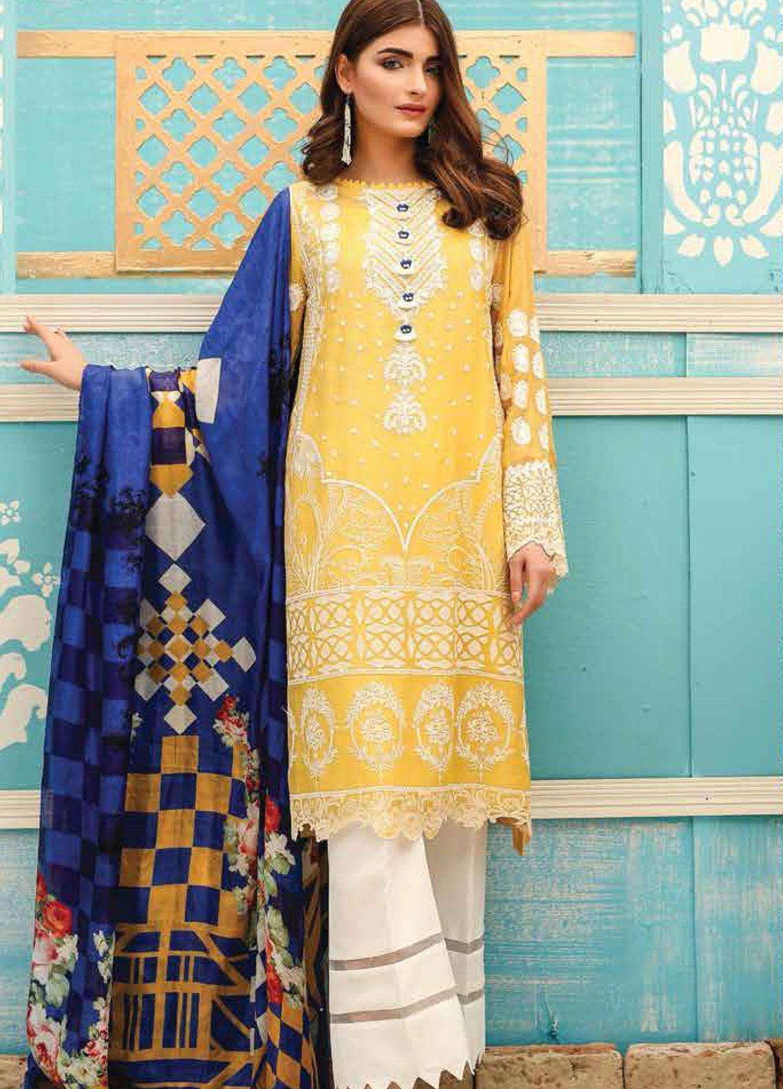 Lakhany Embroidered Cotton Net Unstitched 3 Piece Suit LSM19F 5007 MARIGOLD FUSION - Festive Collection