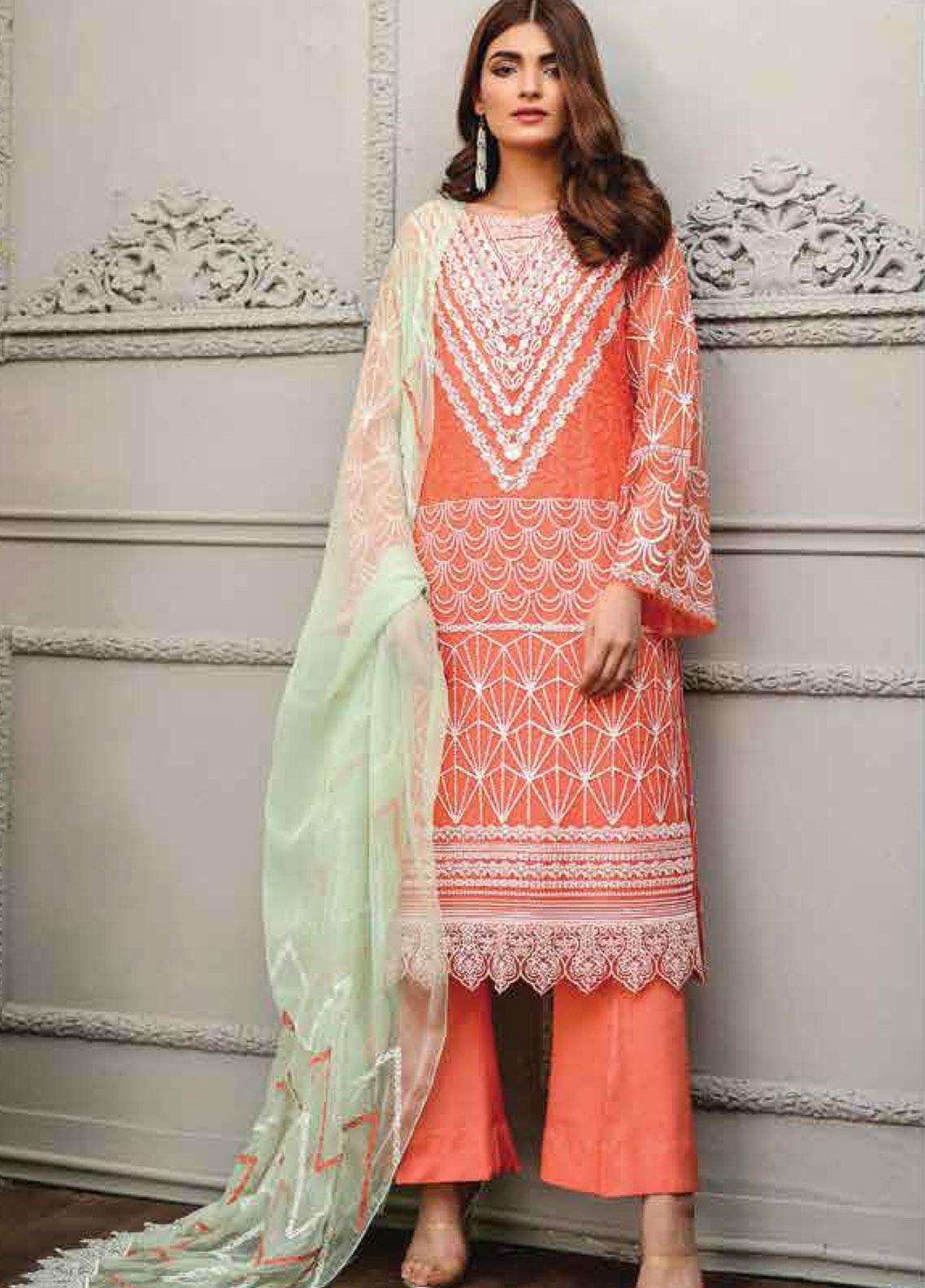 Lakhany Embroidered Chiffon Unstitched 3 Piece Suit LSM19F 5008 TANGEINE HAZE - Festive Collection