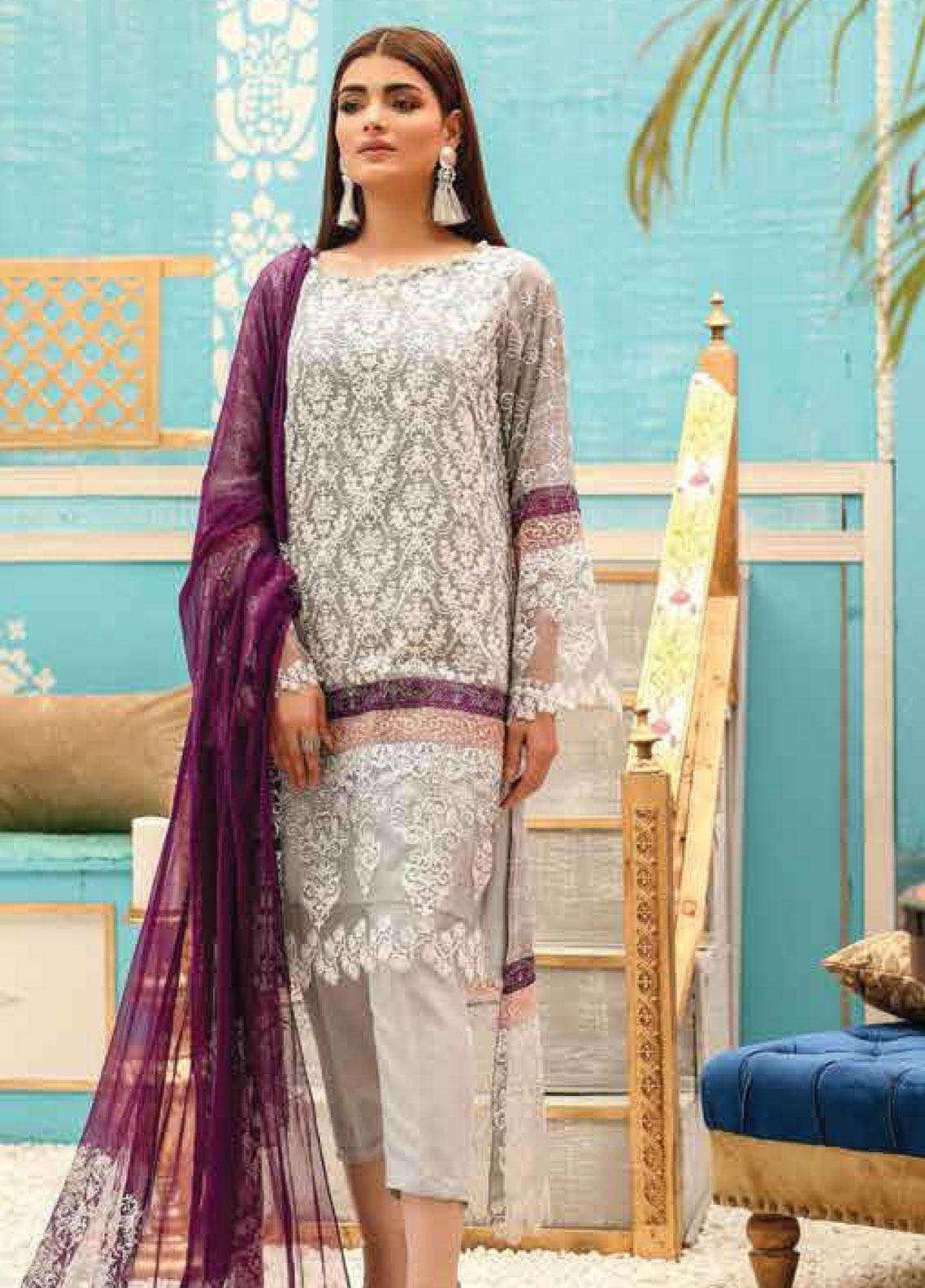 Lakhany Embroidered Cotton Net Unstitched 3 Piece Suit LSM19F 5009 SILVER CLOUD - Festive Collection