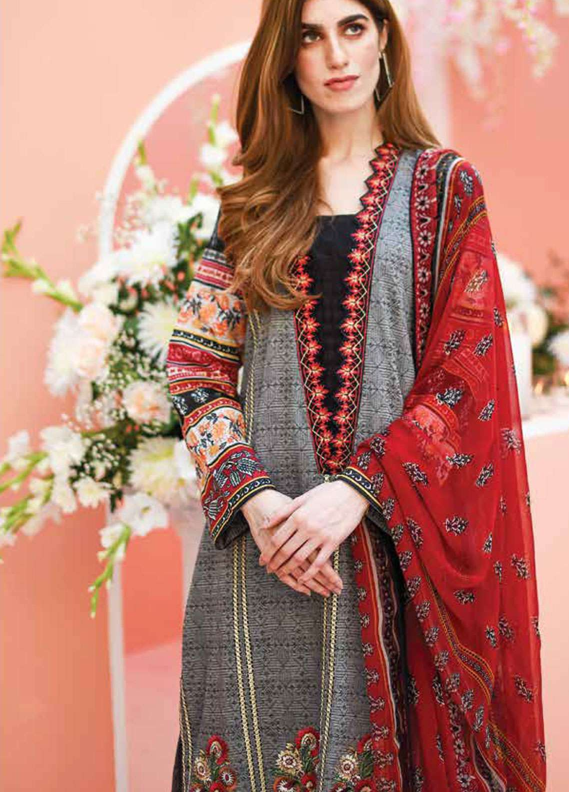 Lakhany Embroidered Lawn Unstitched 3 Piece Suit LSM19L LYD005 - Spring / Summer Collection
