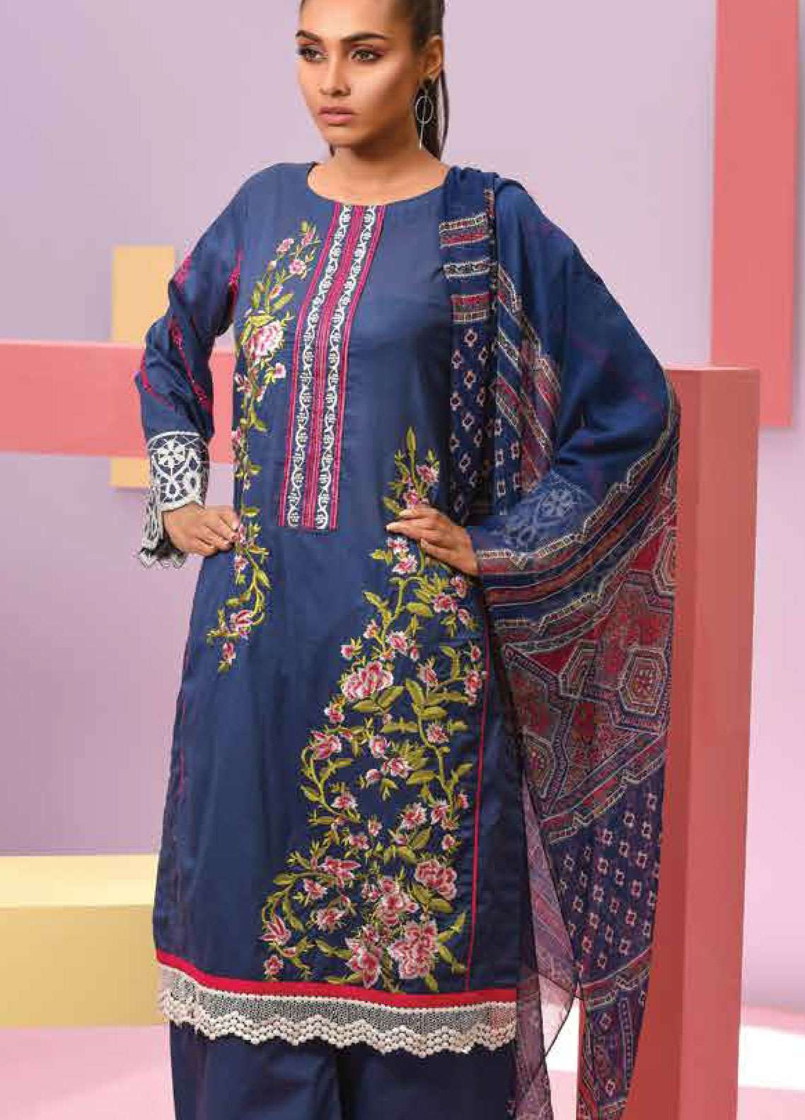 Lakhany Embroidered Lawn Unstitched 3 Piece Suit LSM19SBL 302B - Spring / Summer Collection