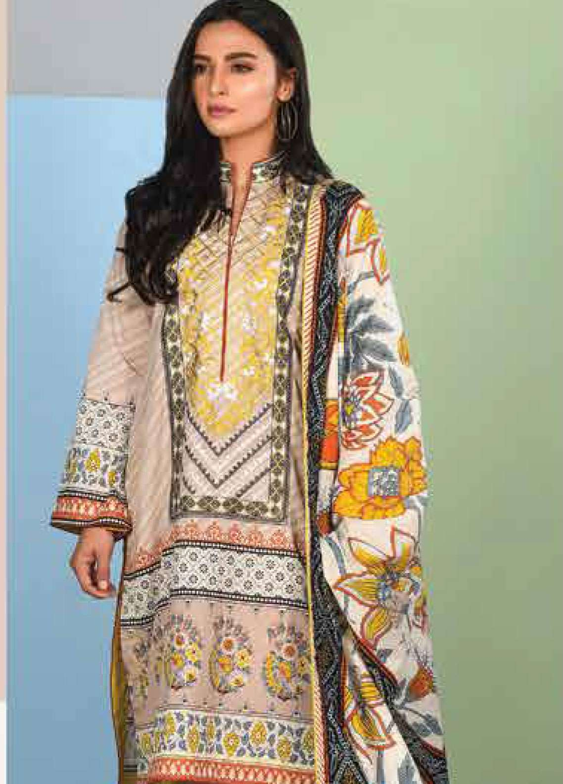 Lakhany Embroidered Lawn Unstitched 3 Piece Suit LSM19SBL 303A - Spring / Summer Collection