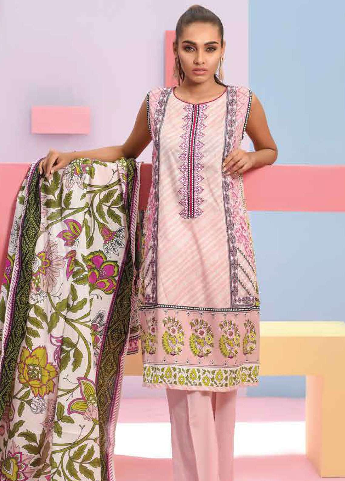 Lakhany Embroidered Lawn Unstitched 3 Piece Suit LSM19SBL 303B - Spring / Summer Collection
