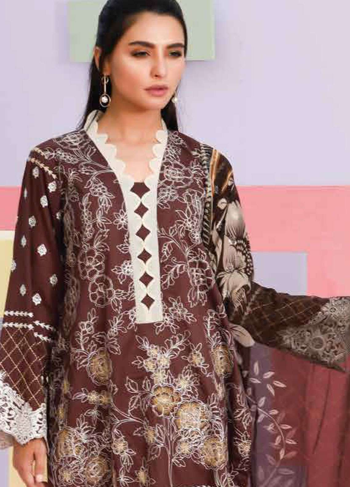 Lakhany Embroidered Lawn Unstitched 3 Piece Suit LSM19SBL 304B - Spring / Summer Collection