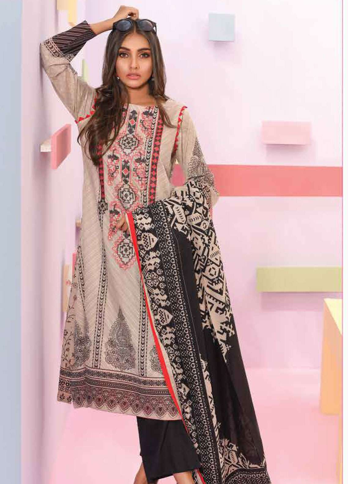 Lakhany Embroidered Lawn Unstitched 3 Piece Suit LSM19SBL 305A - Spring / Summer Collection