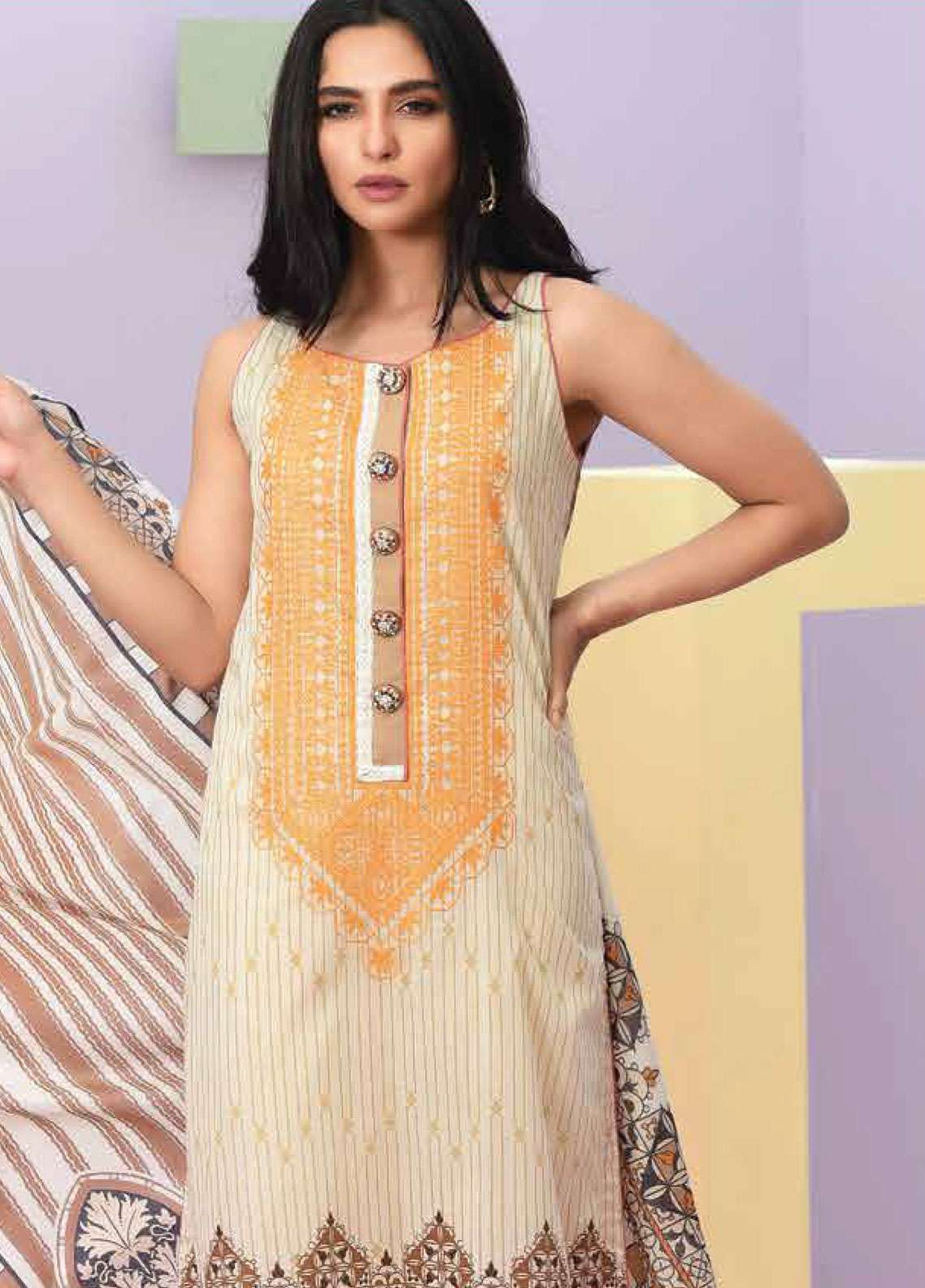 Lakhany Embroidered Lawn Unstitched 3 Piece Suit LSM19SBL 307B - Spring / Summer Collection