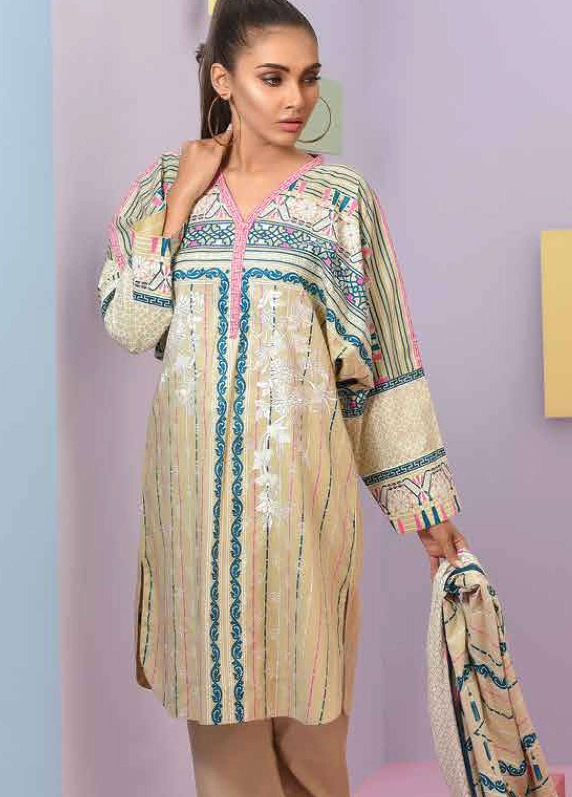 Lakhany Embroidered Lawn Unstitched 3 Piece Suit LSM19SBL 308A - Spring / Summer Collection