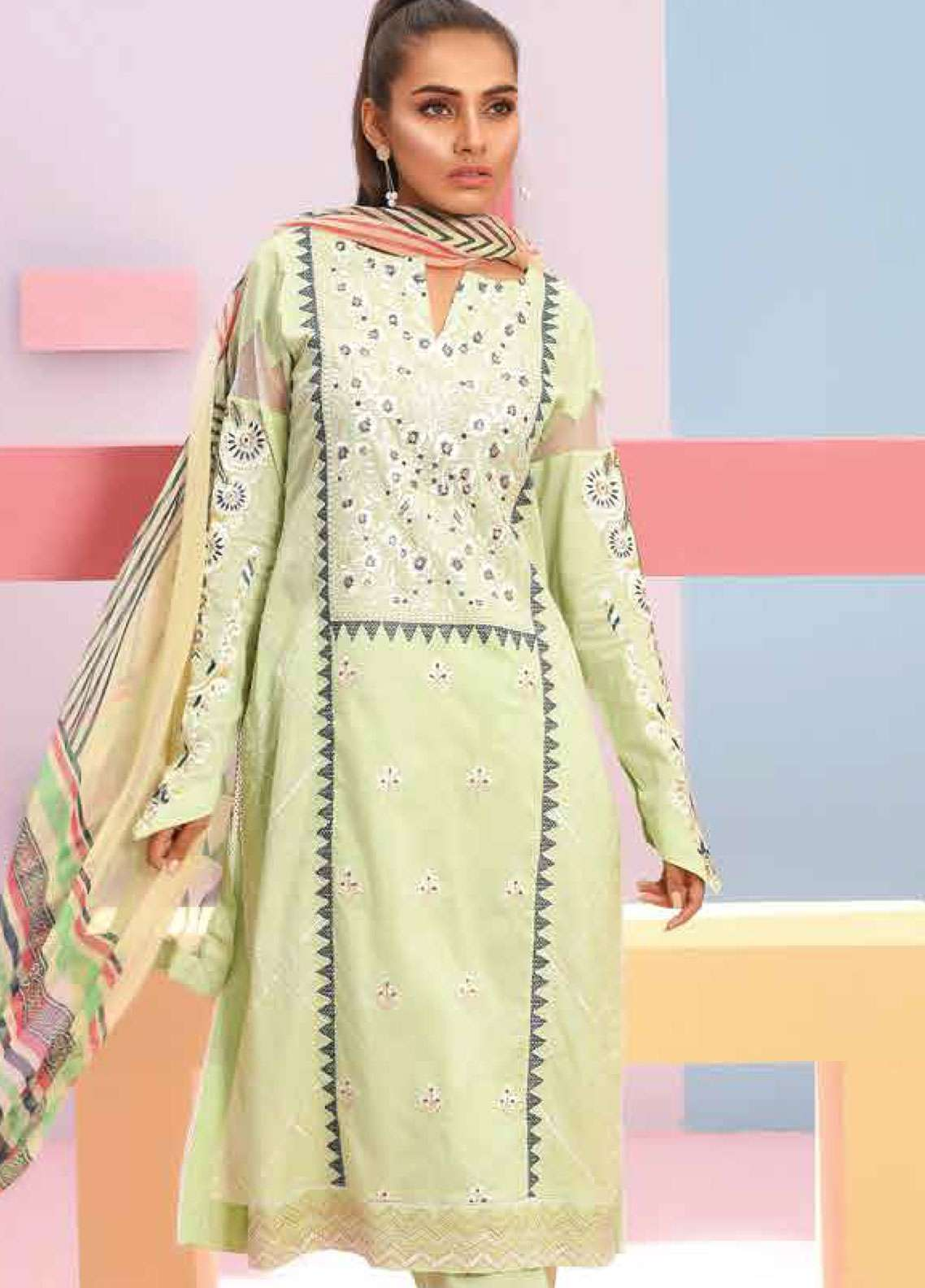Lakhany Embroidered Lawn Unstitched 3 Piece Suit LSM19SBL 309A - Spring / Summer Collection