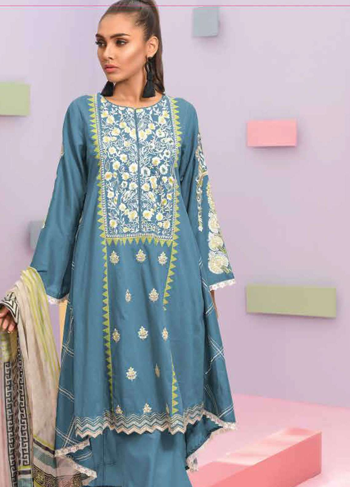 Lakhany Embroidered Lawn Unstitched 3 Piece Suit LSM19SBL 309B - Spring / Summer Collection