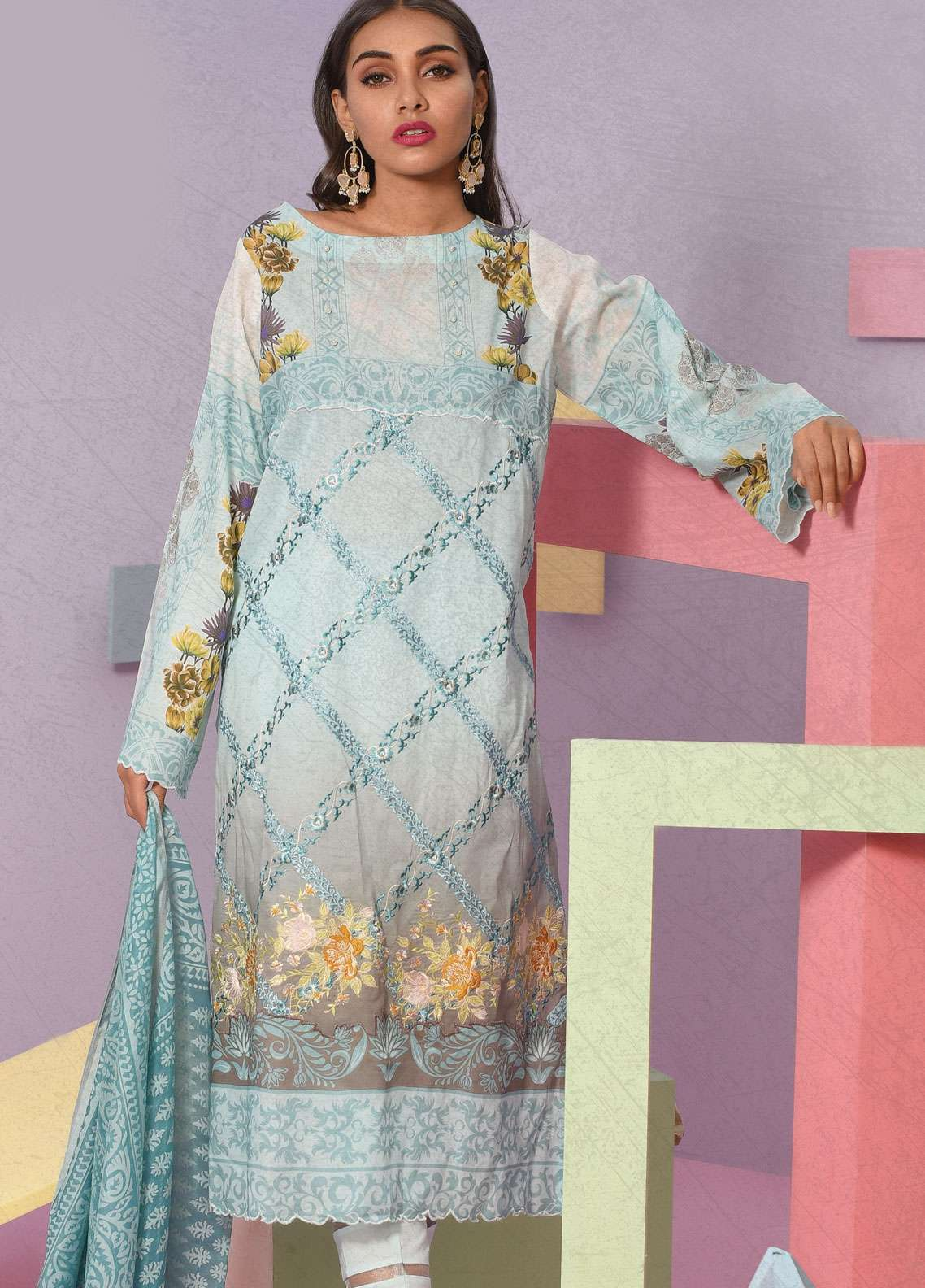 Lakhany Embroidered Lawn Unstitched 3 Piece Suit LSM19VL 203 - Spring / Summer Collection