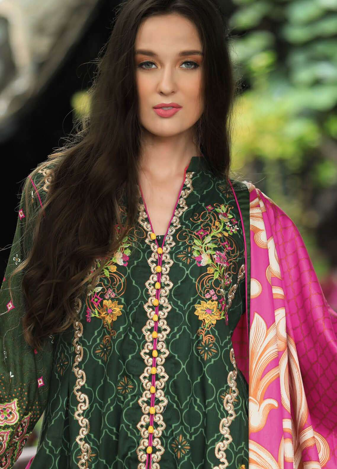 Lakhany Embroidered Cotton Satin Unstitched 3 Piece Suit LSM18FF 2A - Feral Flowery Collection