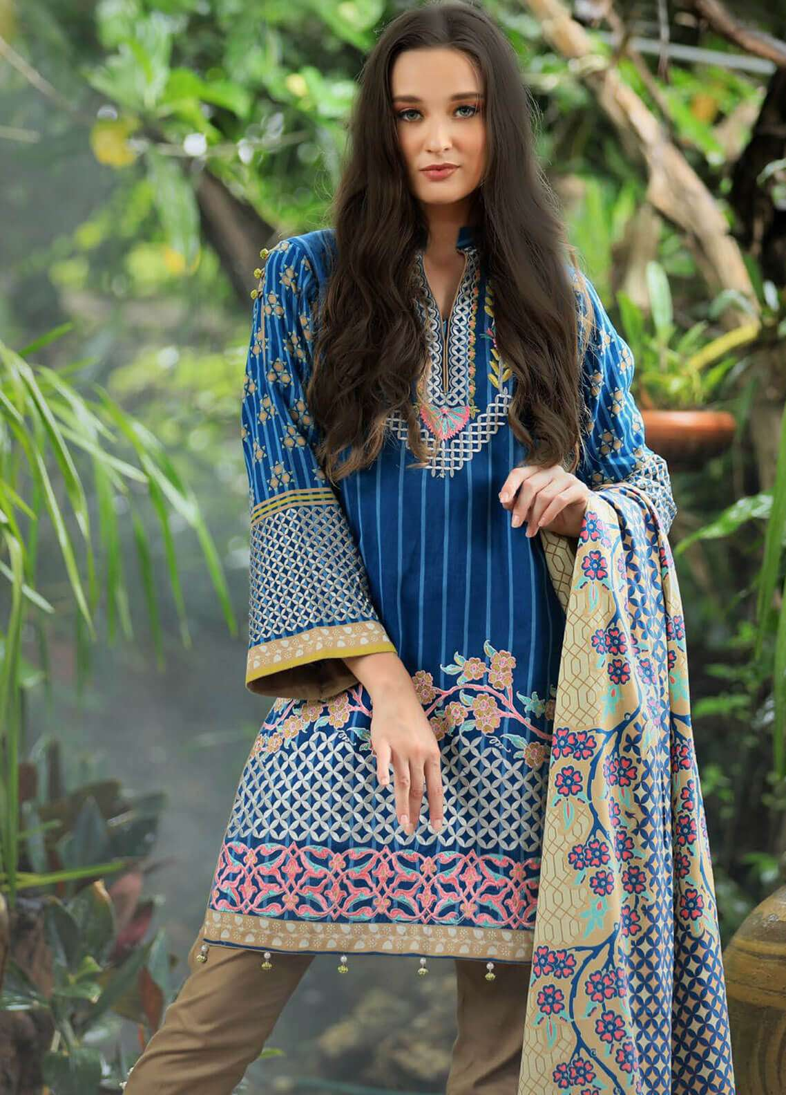 Lakhany Embroidered Cotton Satin Unstitched 3 Piece Suit LSM18FF 4A - Feral Flowery Collection