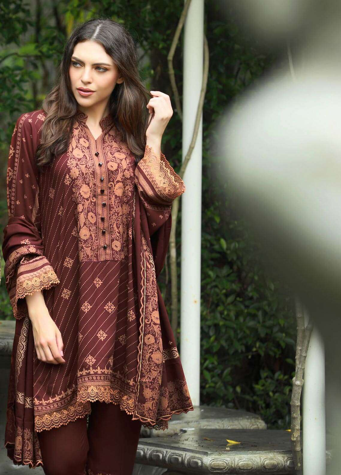 Lakhany Printed Pashmina Unstitched 3 Piece Suit LSM18W 307A - Woollen Collection