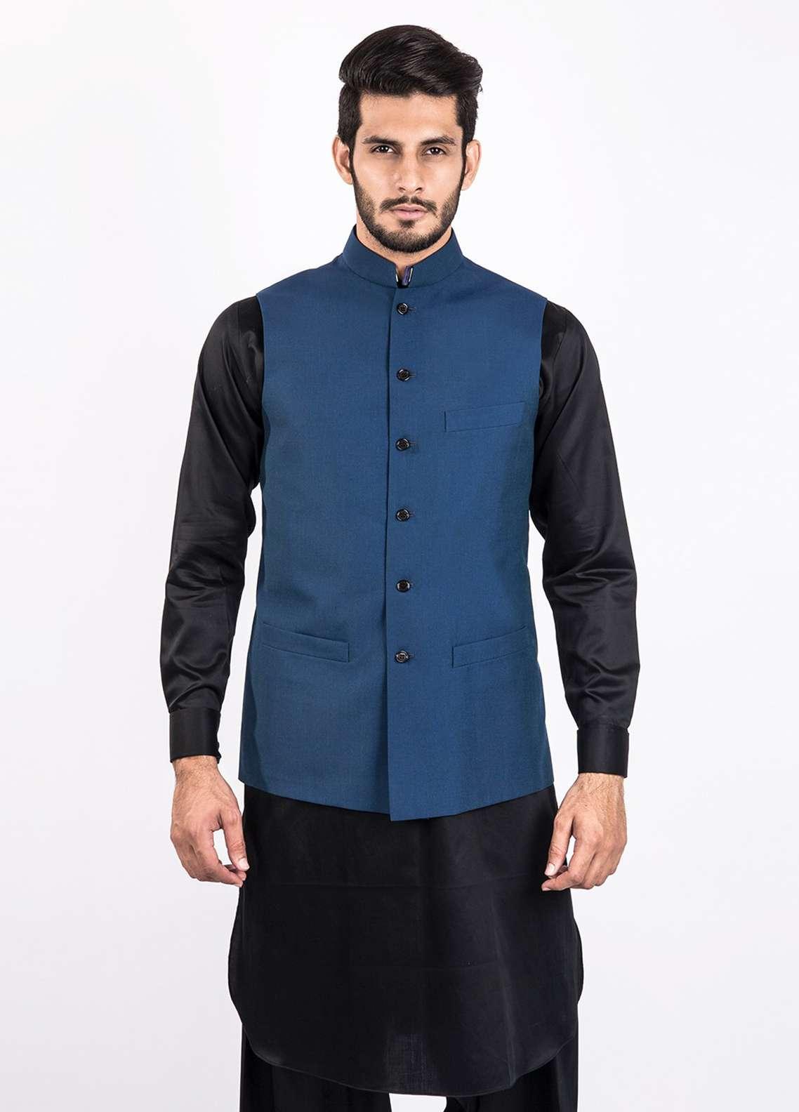 Lawrencepur Wool Blend Plain Texture Men Waistcoats - Blue LW18W 07