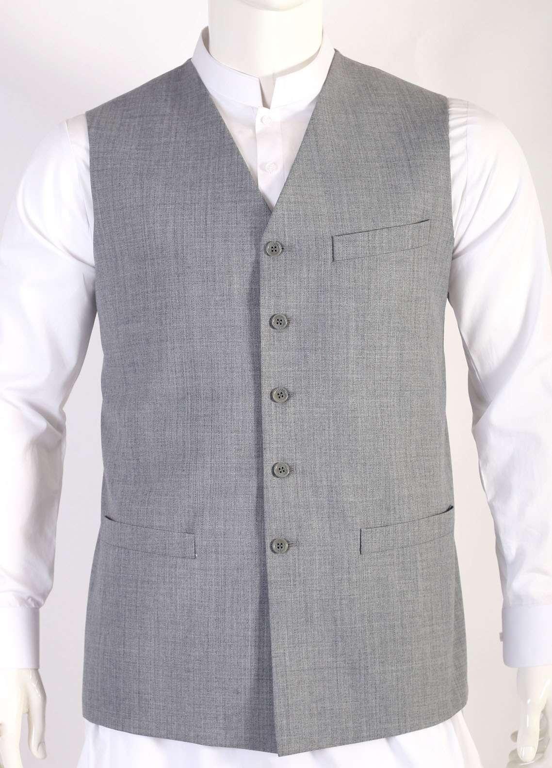 Lawrencepur Wool Blend Plain Texture Men Waistcoats - Light Grey LW18W 11