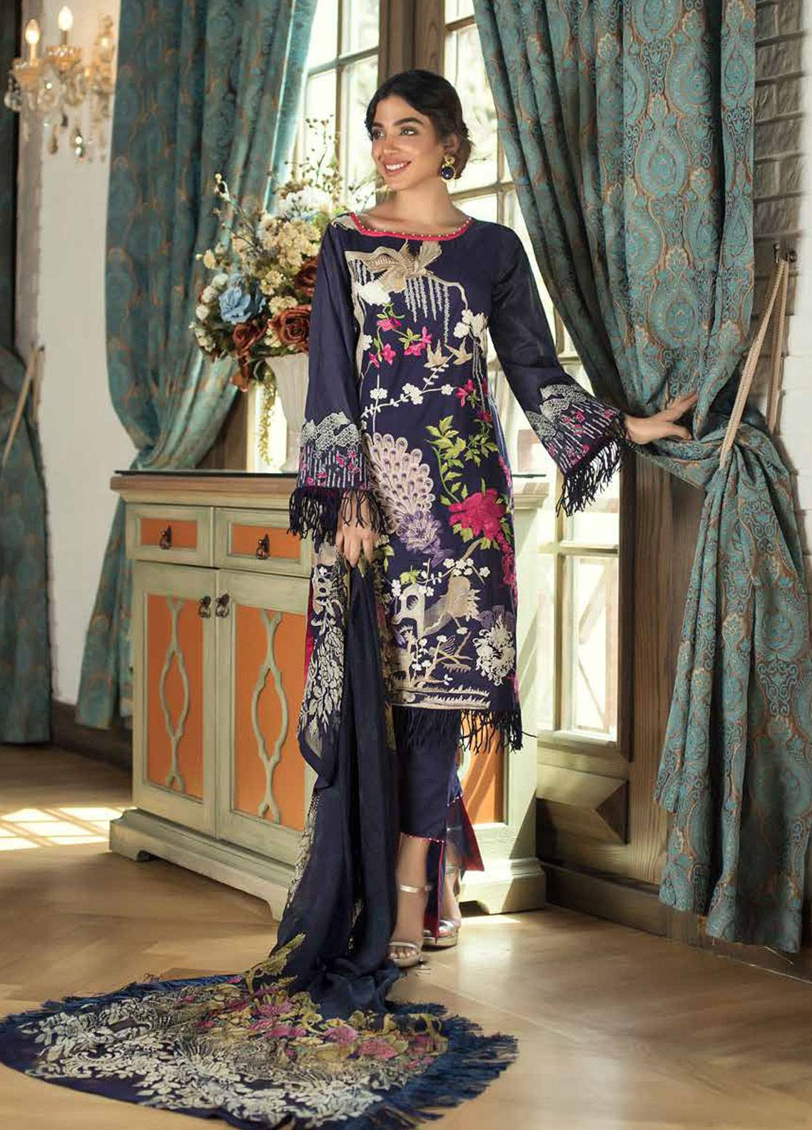 Mahiymaan Embroidered Lawn Unstitched 3 Piece Suit MAH18E 06 - Eid Collection