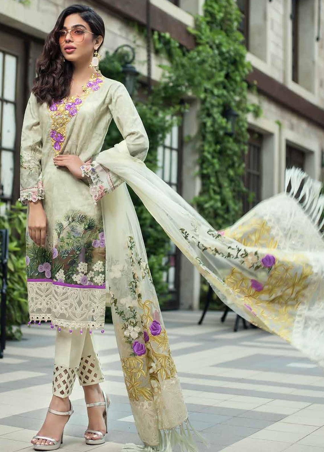 Mahiymaan Embroidered Lawn Unstitched 3 Piece Suit MAH18E 08 - Eid Collection