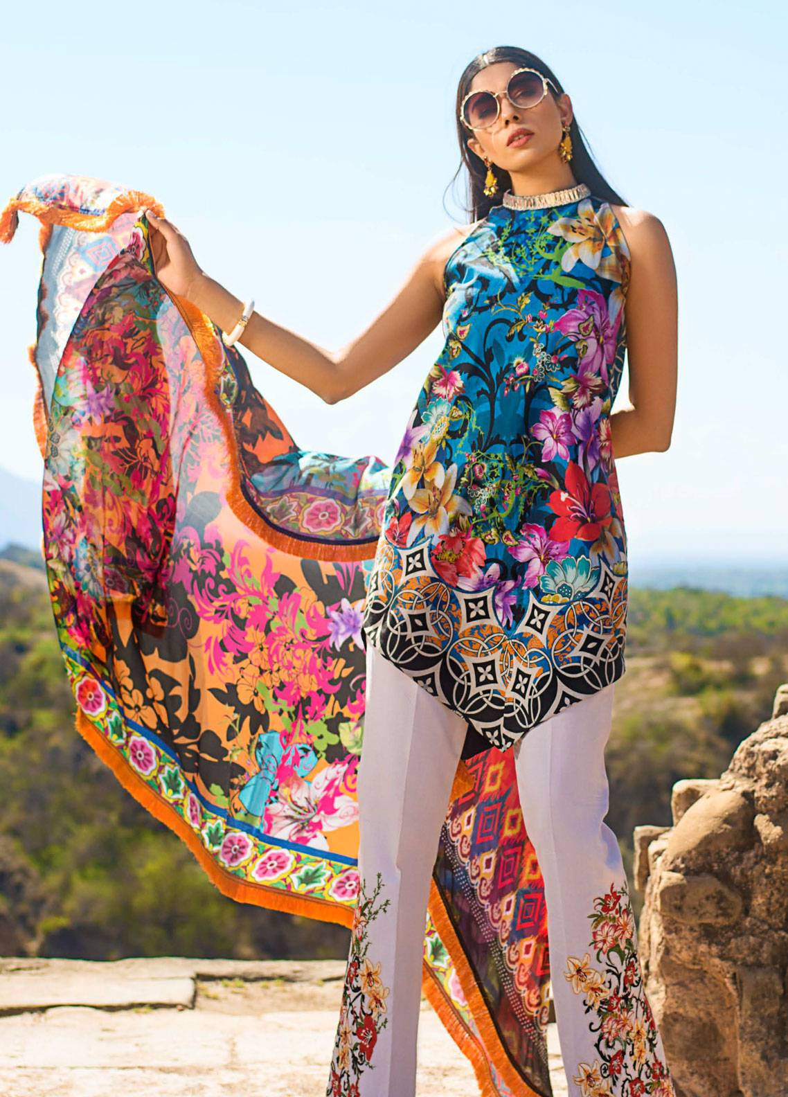 Maheen Karim by ZS Textile Embroidered Lawn Unstitched 3 Piece Suit MK19L 02 MIDNIGHT PARADISE - Spring / Summer Collection