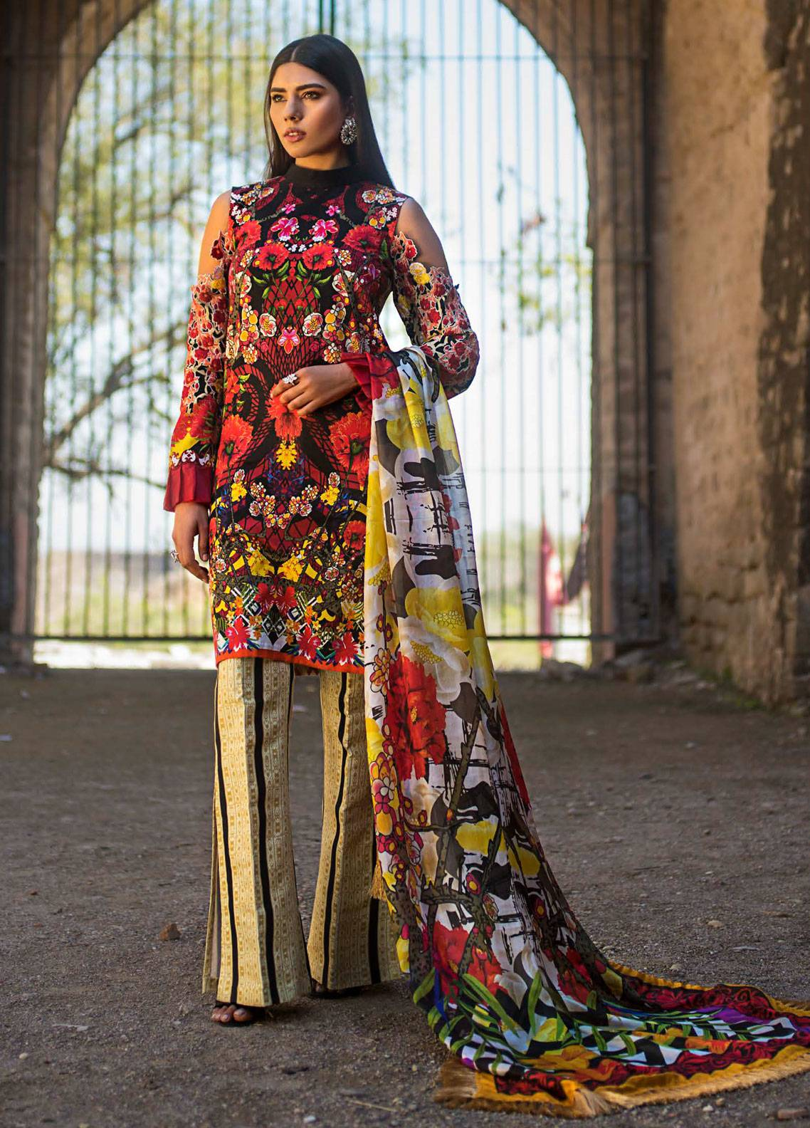 Maheen Karim by ZS Textile Embroidered Lawn Unstitched 3 Piece Suit MK19L 03 RUBY WOO - Spring / Summer Collection