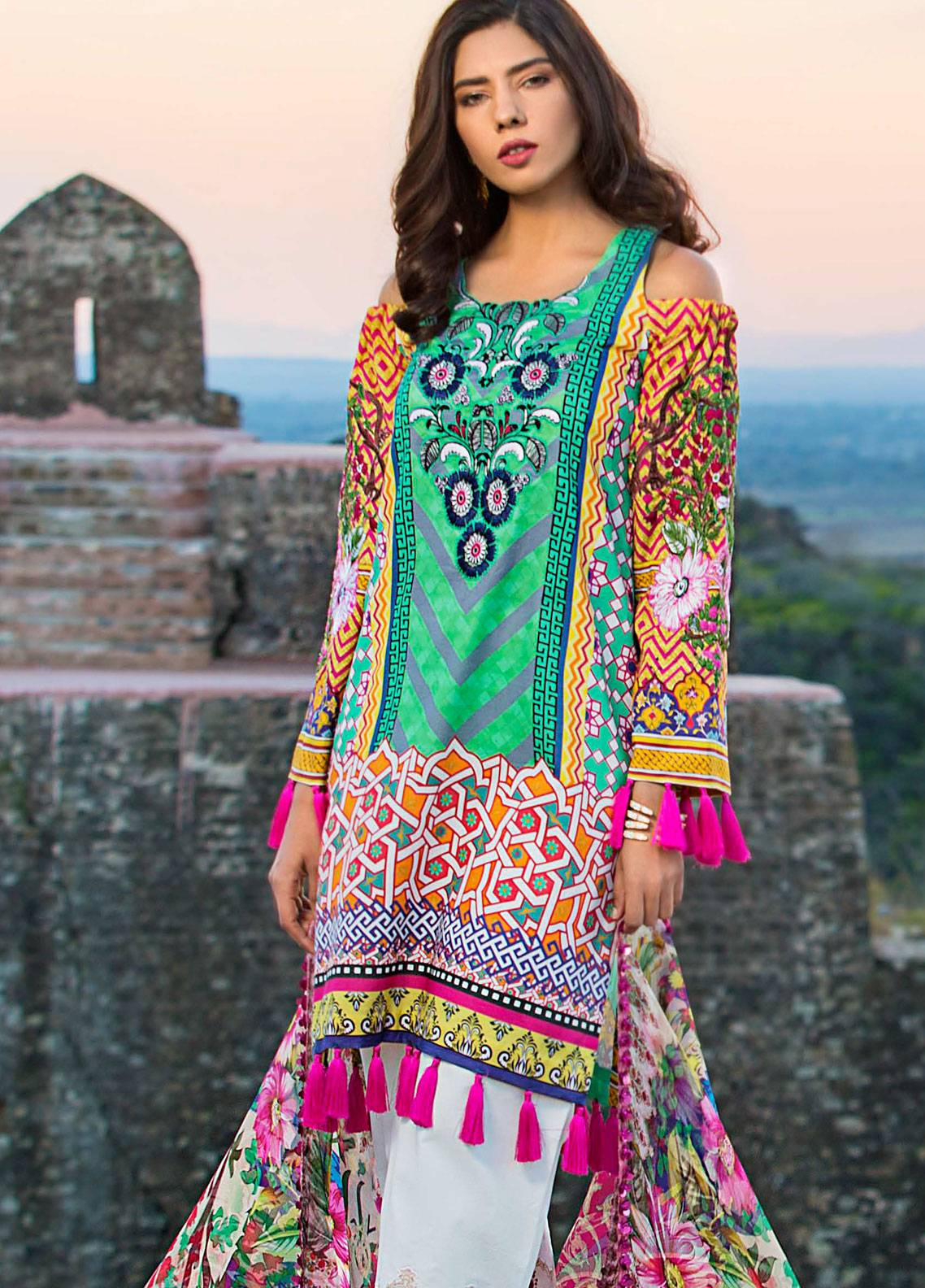 Maheen Karim by ZS Textile Embroidered Lawn Unstitched 3 Piece Suit MK19L 06 FUSCHIA FLORET - Spring / Summer Collection