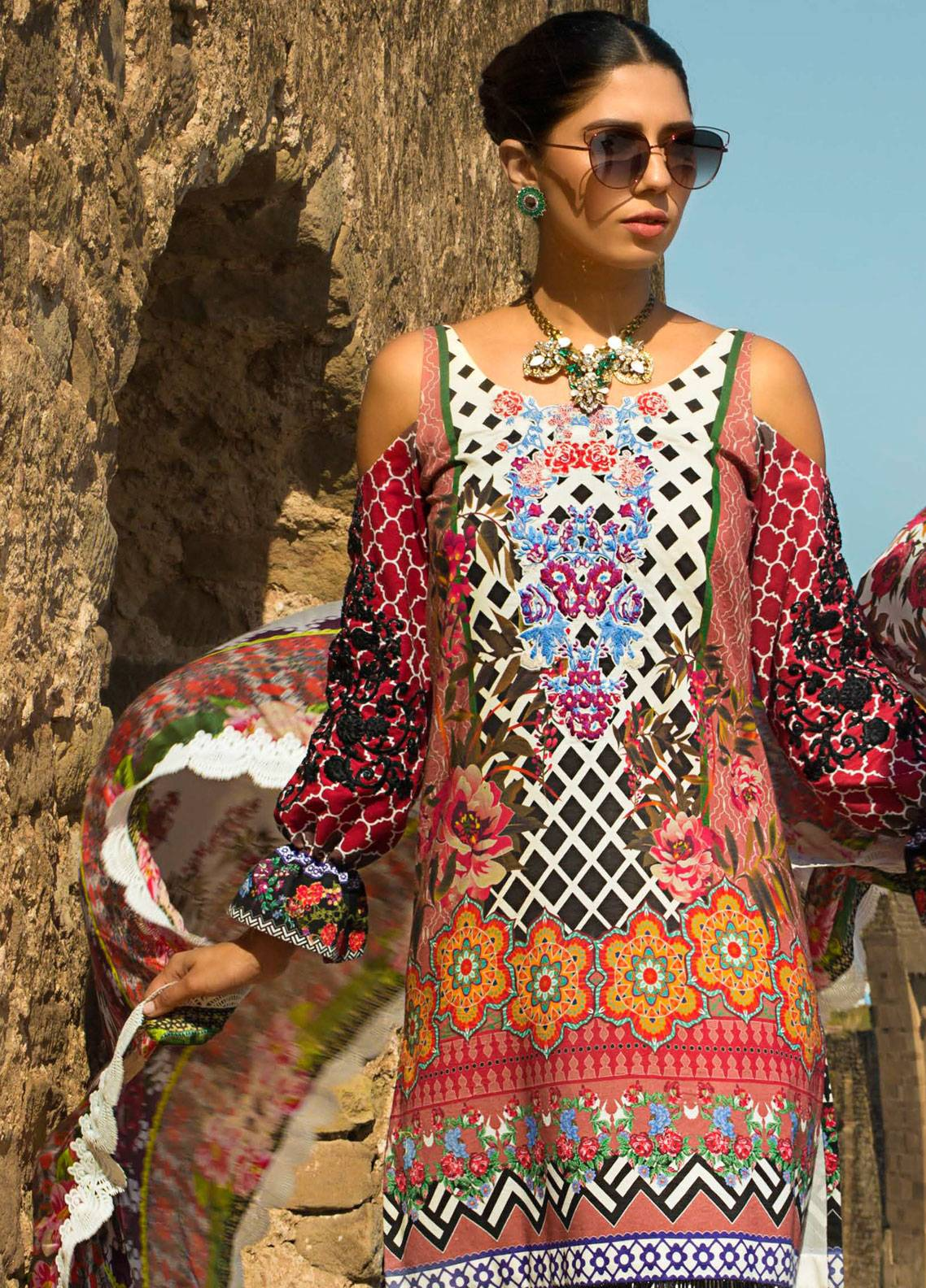 Maheen Karim by ZS Textile Embroidered Lawn Unstitched 3 Piece Suit MK19L 09 MON CHERI - Spring / Summer Collection