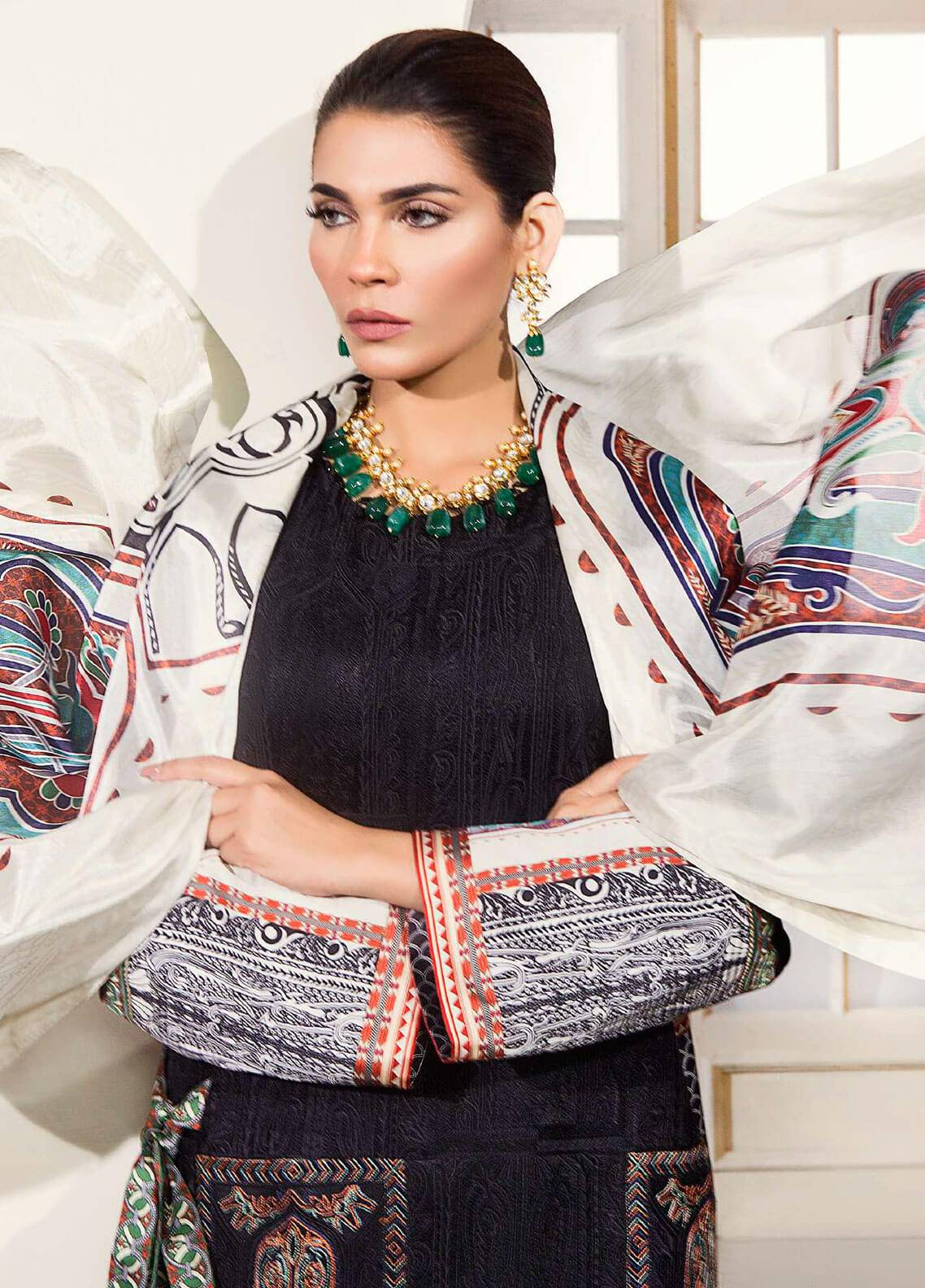 Mahgul by Al Zohaib Embroidered Chiffon Unstitched 3 Piece Suit MG18F 01 - Formal Collection