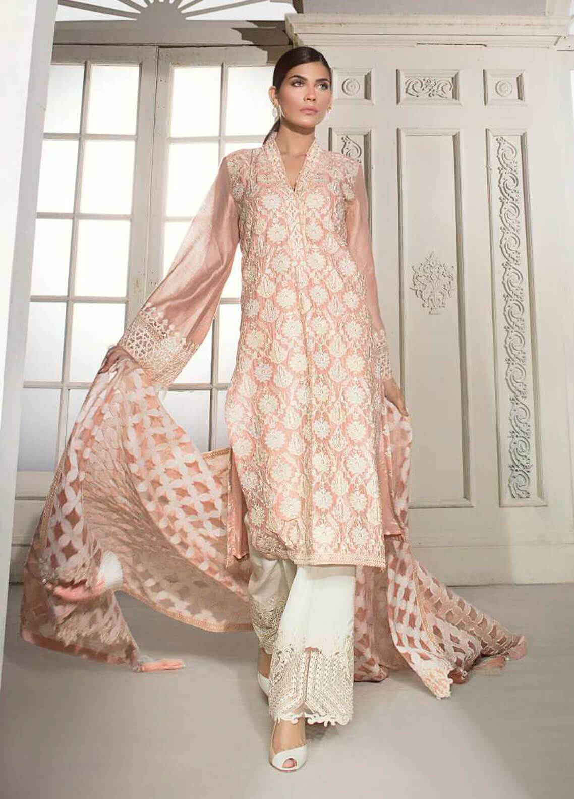 Mahgul by Al Zohaib Embroidered Khaadi Net Unstitched 3 Piece Suit MG18F 02 - Formal Collection