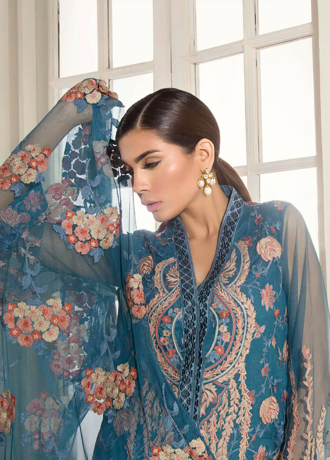 Mahgul by Al Zohaib Embroidered Khaadi Net Unstitched 3 Piece Suit MG18F 03 - Formal Collection