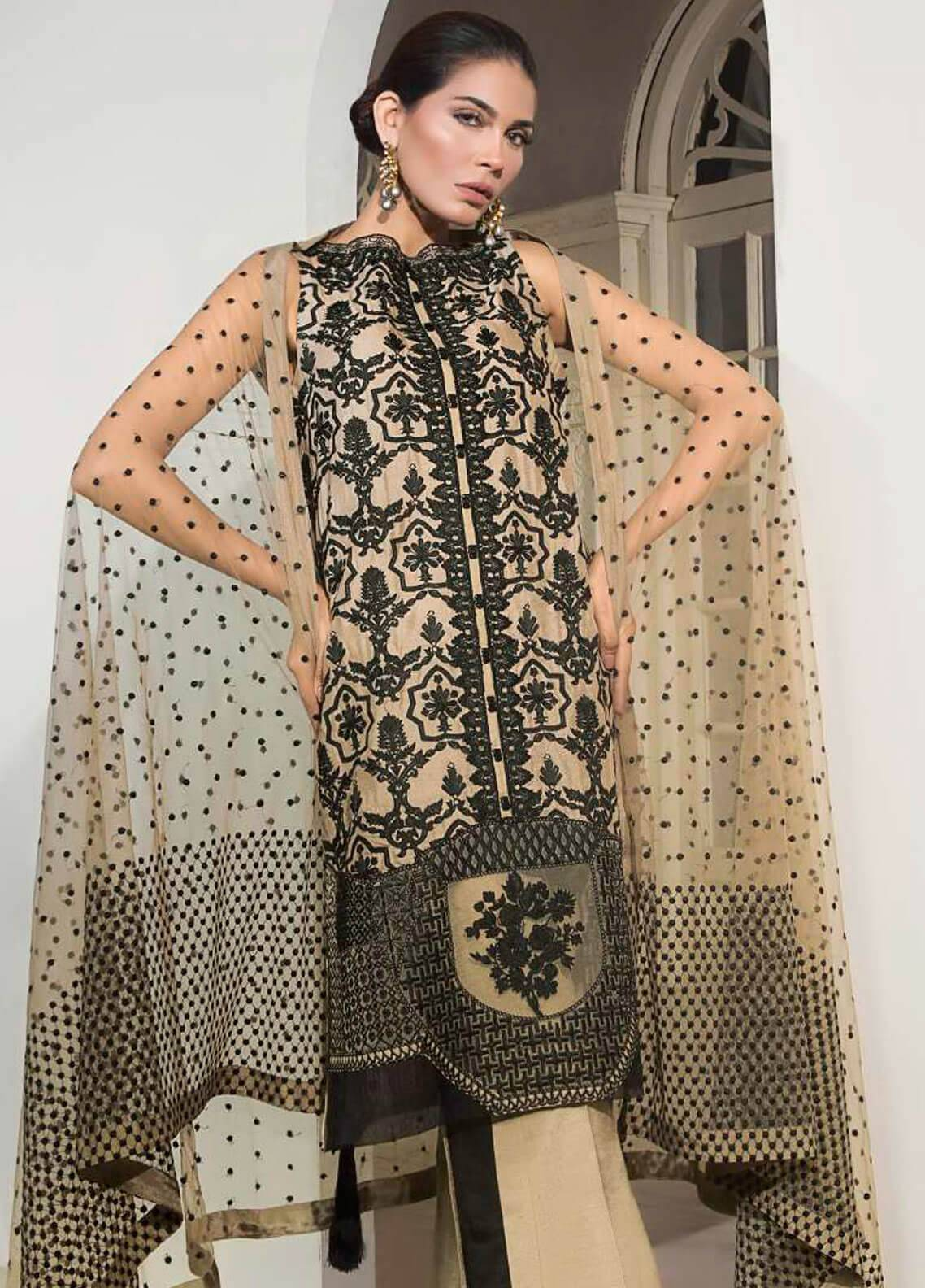Mahgul by Al Zohaib Embroidered Khaadi Net Unstitched 3 Piece Suit MG18F 06 - Formal Collection