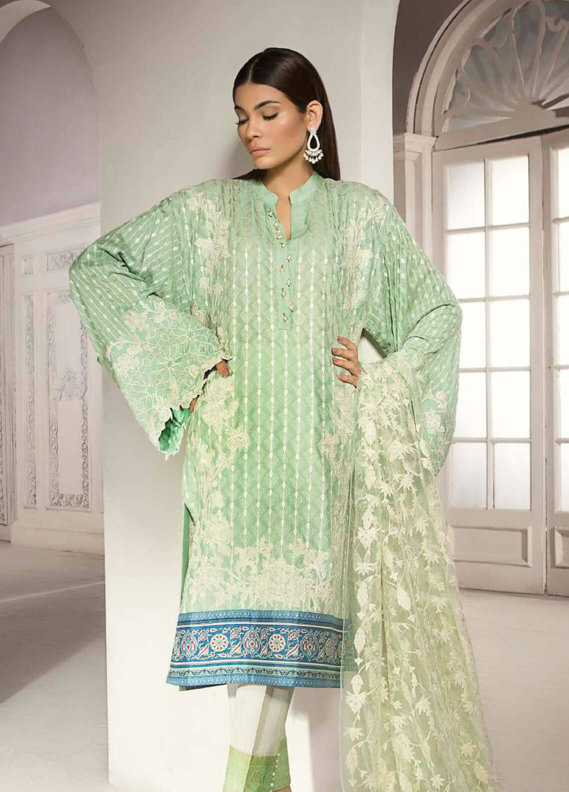 Mahgul by Al Zohaib Embroidered Khaadi Net Unstitched 3 Piece Suit MG18F 08 - Formal Collection
