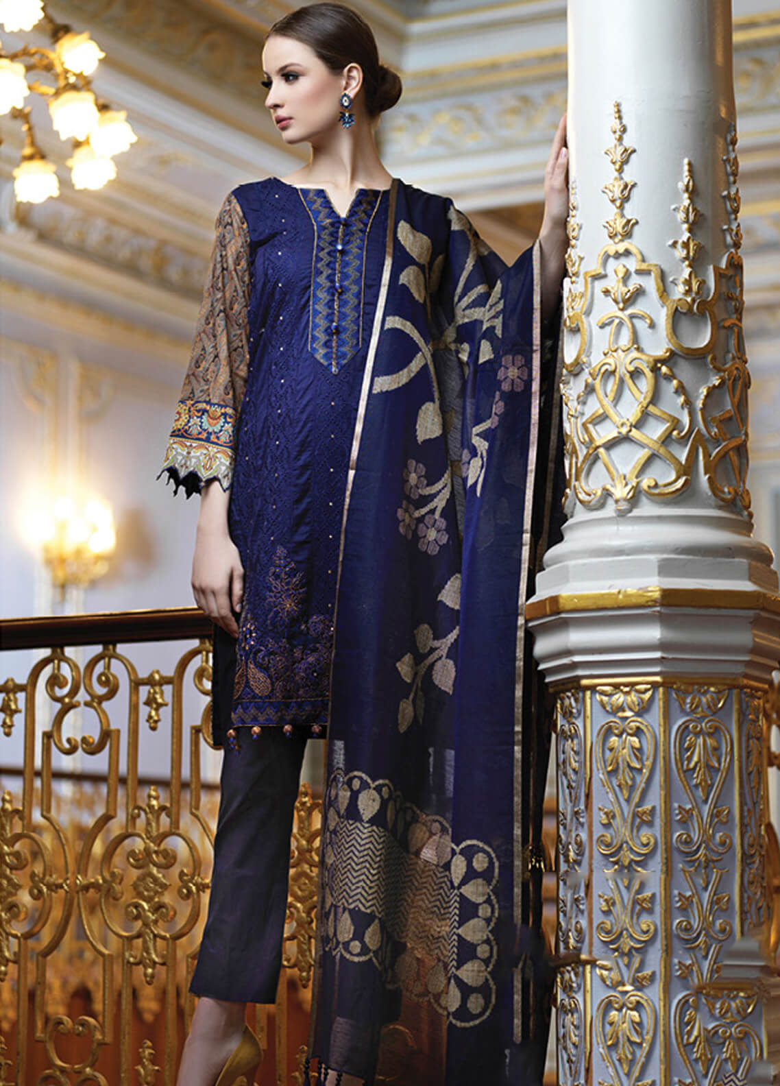 Mahiymaan By Al Zohaib Embroidered Lawn Unstitched 3 Piece Suit MAH19E 10 - Festive Collection