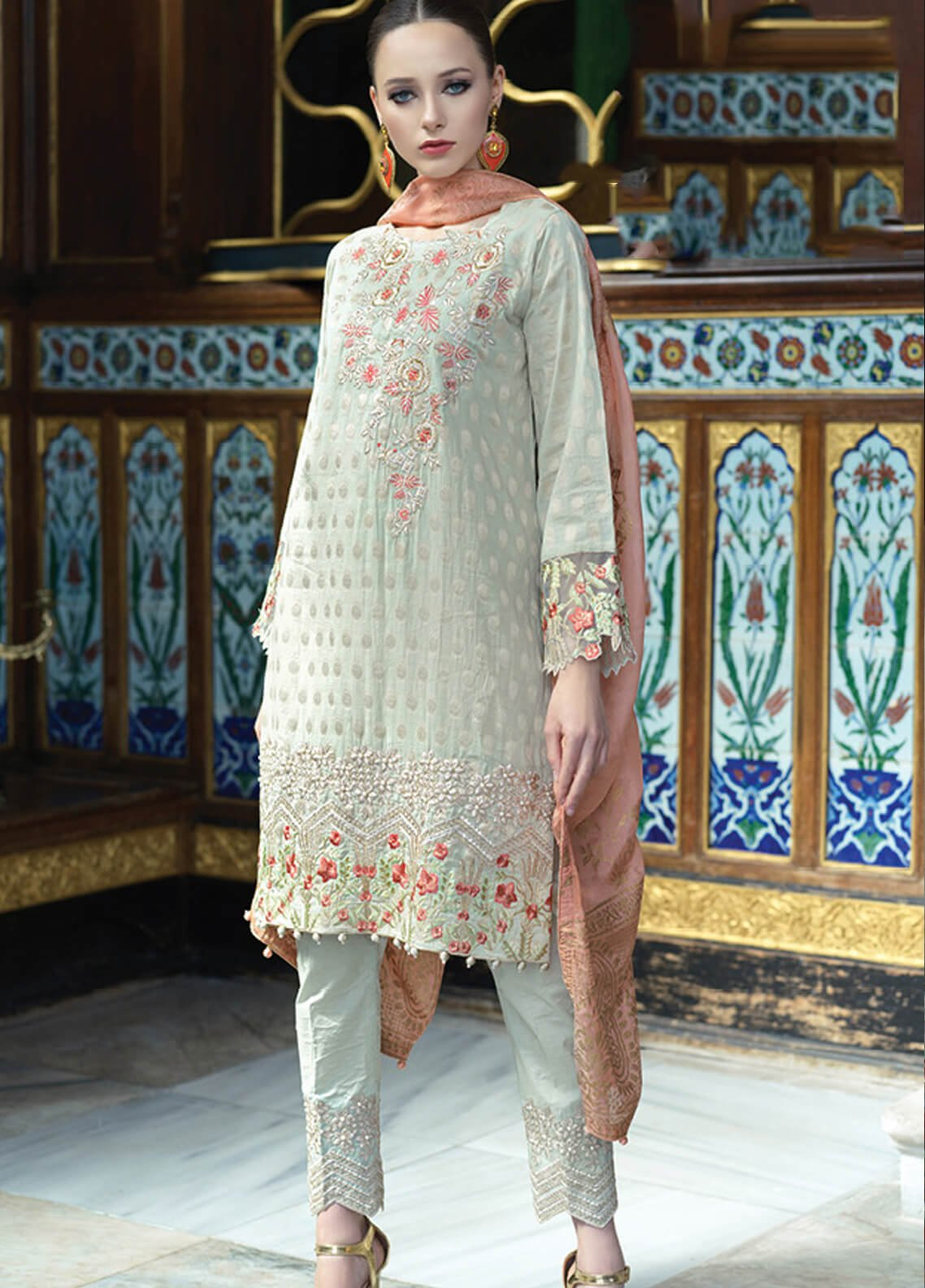 499ffd4d71 Mahiymaan By Al Zohaib Embroidered Jacquard Unstitched 3 Piece Suit MAH19E  11 - Festive Collection