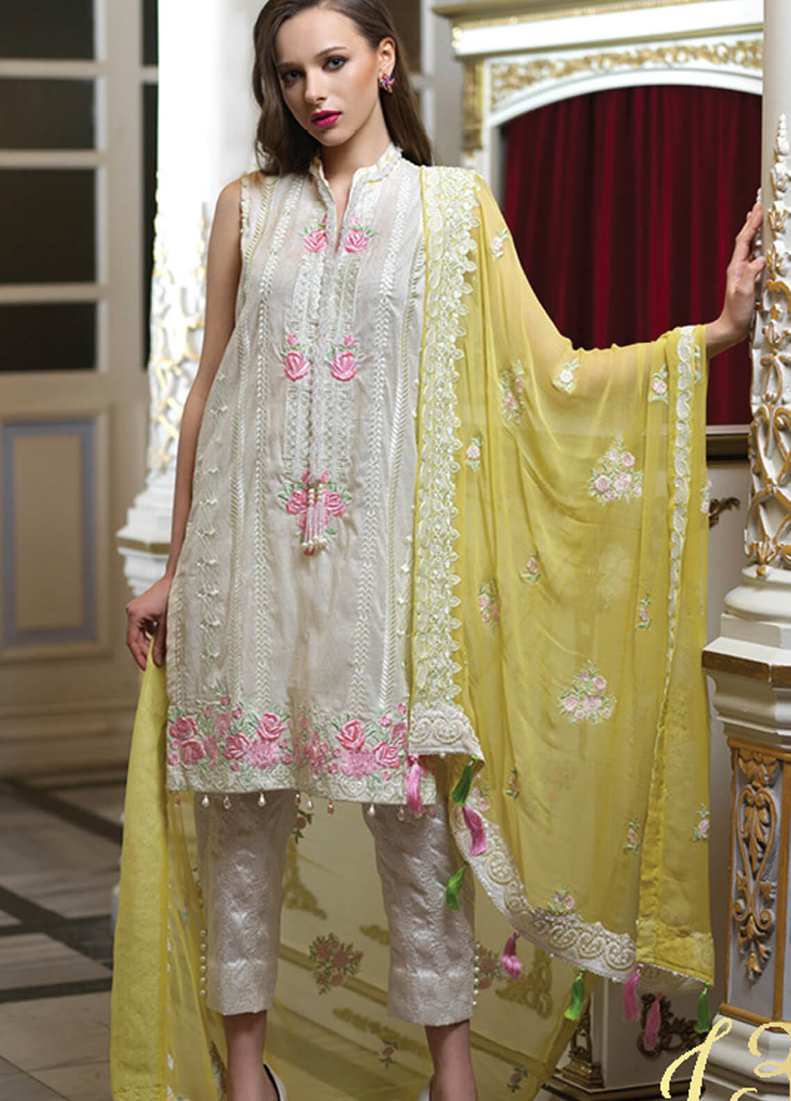 Mahiymaan By Al Zohaib Embroidered Lawn Unstitched 3 Piece Suit MAH19E 13 - Festive Collection