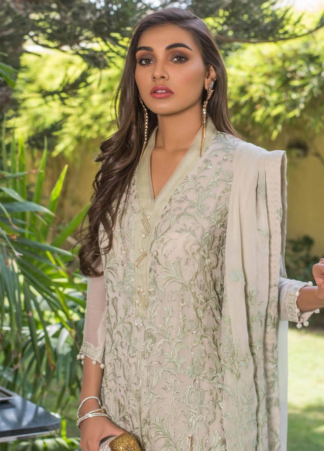 Mahrukh By ZS Embroidered Chiffon Unstitched 3 Piece Suit MHK18VC 05 - Luxury Collection
