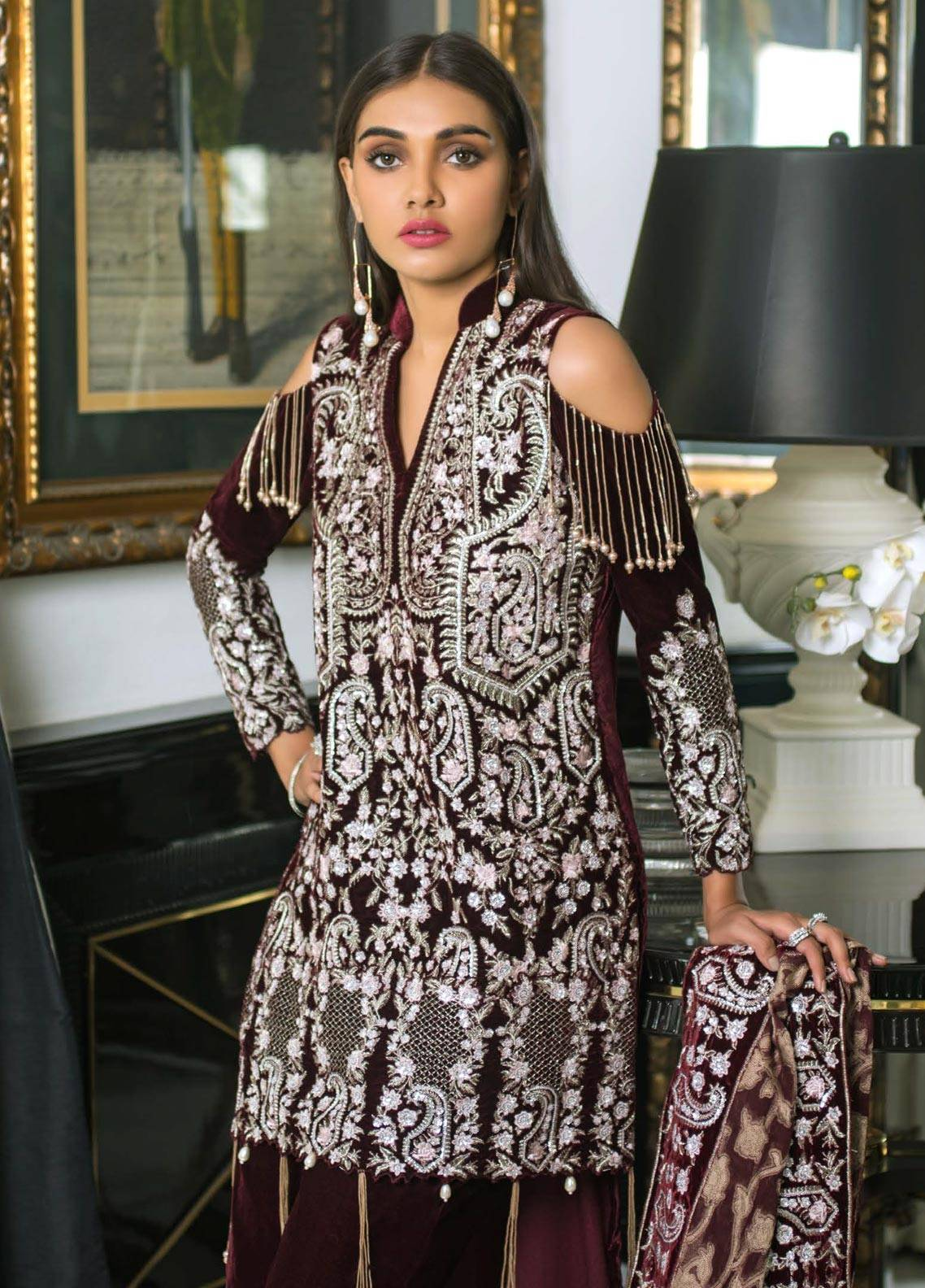 Mahrukh By ZS Embroidered Velvet Unstitched 3 Piece Suit MHK18VC 07 - Luxury Collection