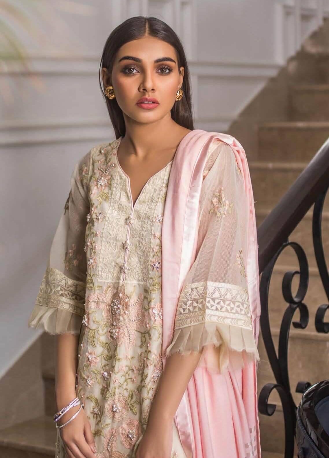 Mahrukh By ZS Embroidered Net Unstitched 3 Piece Suit MHK18VC 09 - Luxury Collection
