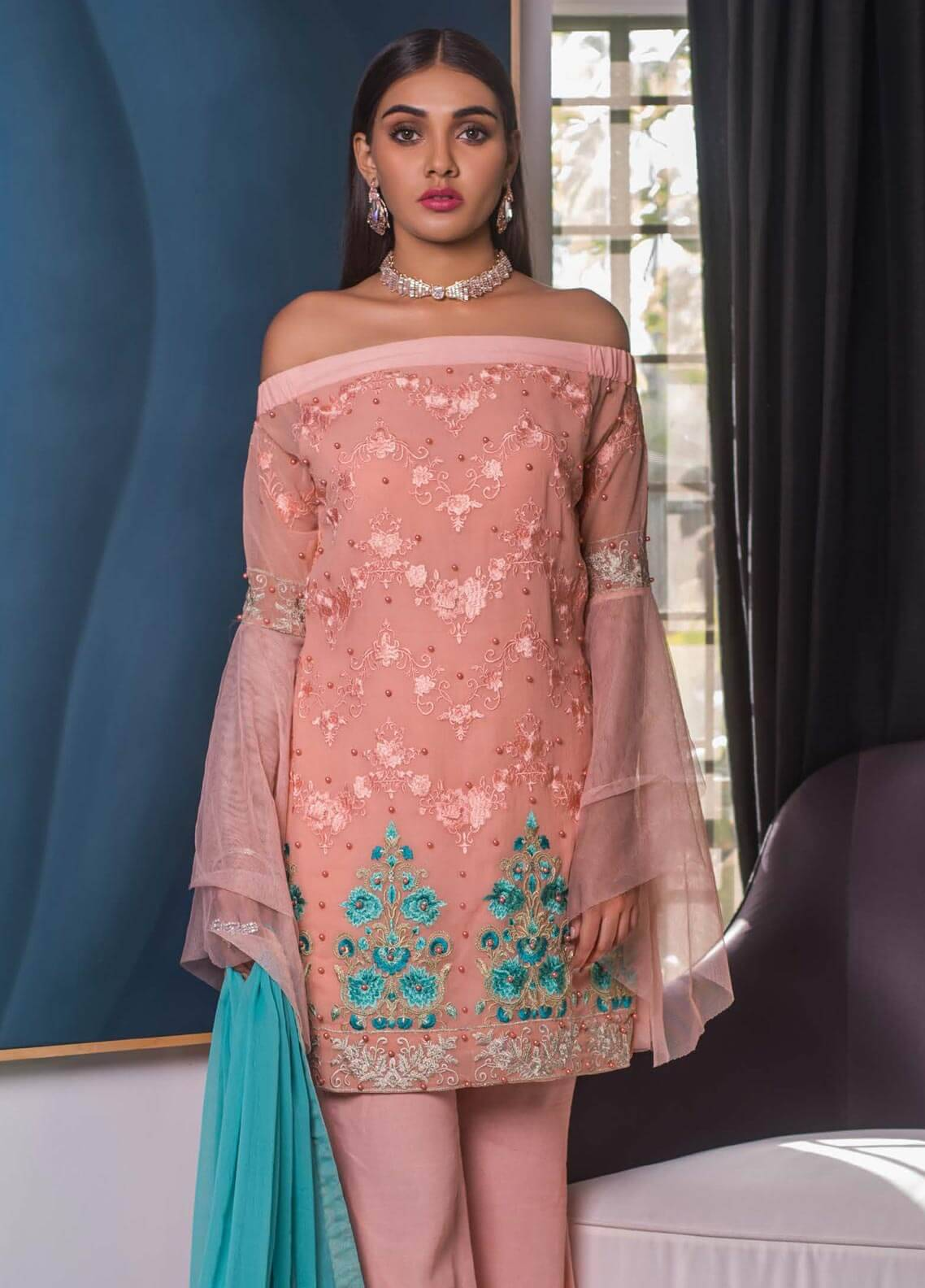 Mahrukh By ZS Embroidered Chiffon Unstitched 3 Piece Suit MHK18VC 11 - Luxury Collection