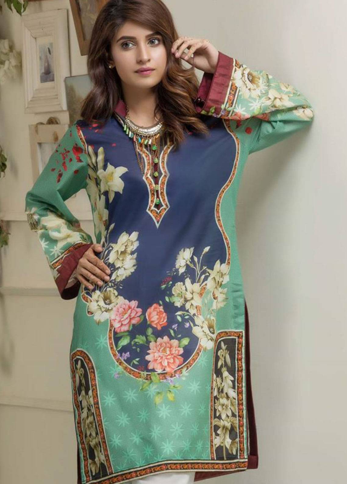 Maira Ahsan Printed Lawn Unstitched Kurties MAD19TC V14 01B - Mid Summer Collection