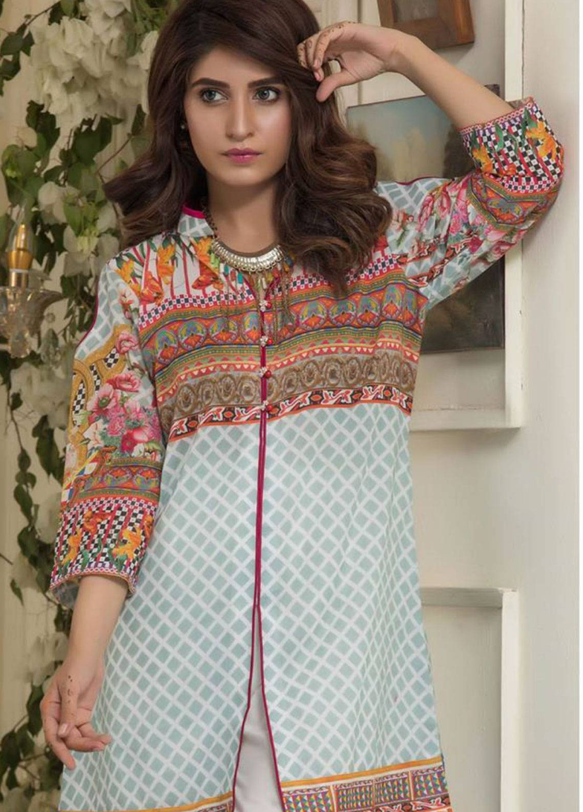 Maira Ahsan Printed Lawn Unstitched Kurties MAD19TC V14 02A - Mid Summer Collection