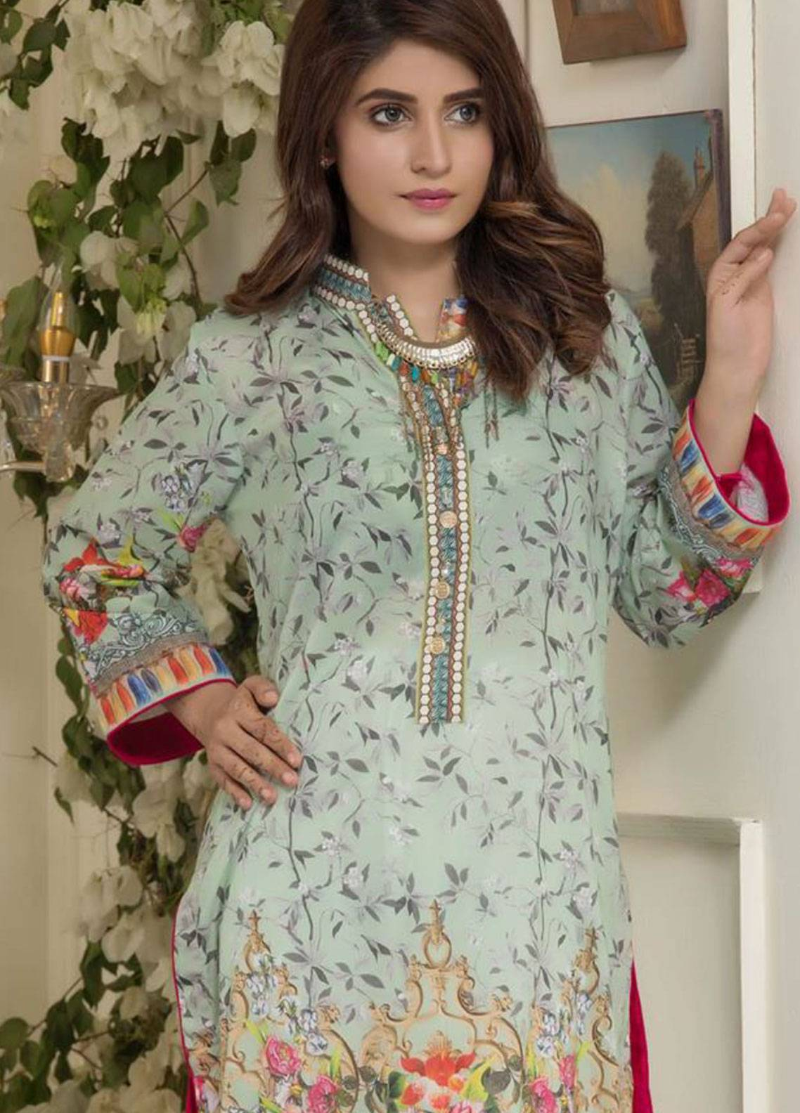 Maira Ahsan Printed Lawn Unstitched Kurties MAD19TC V14 03B - Mid Summer Collection