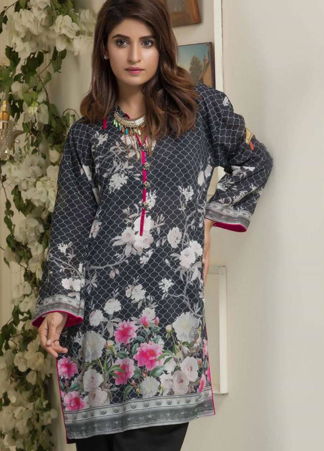 Maira Ahsan Printed Lawn Unstitched Kurties MAD19TC V14 04B - Mid Summer Collection