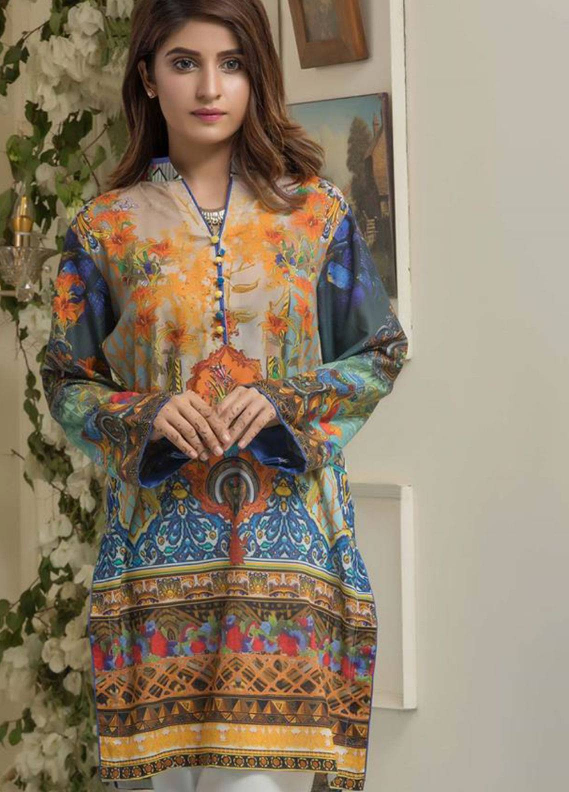 Maira Ahsan Printed Lawn Unstitched Kurties MAD19TC V14 05 - Mid Summer Collection