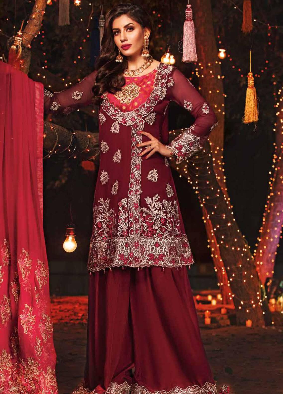 EmbRoyal Embroidered Chiffon Unstitched 3 Piece Suit EMB19DK 07 Chic Rose - Dewan-e-Khas