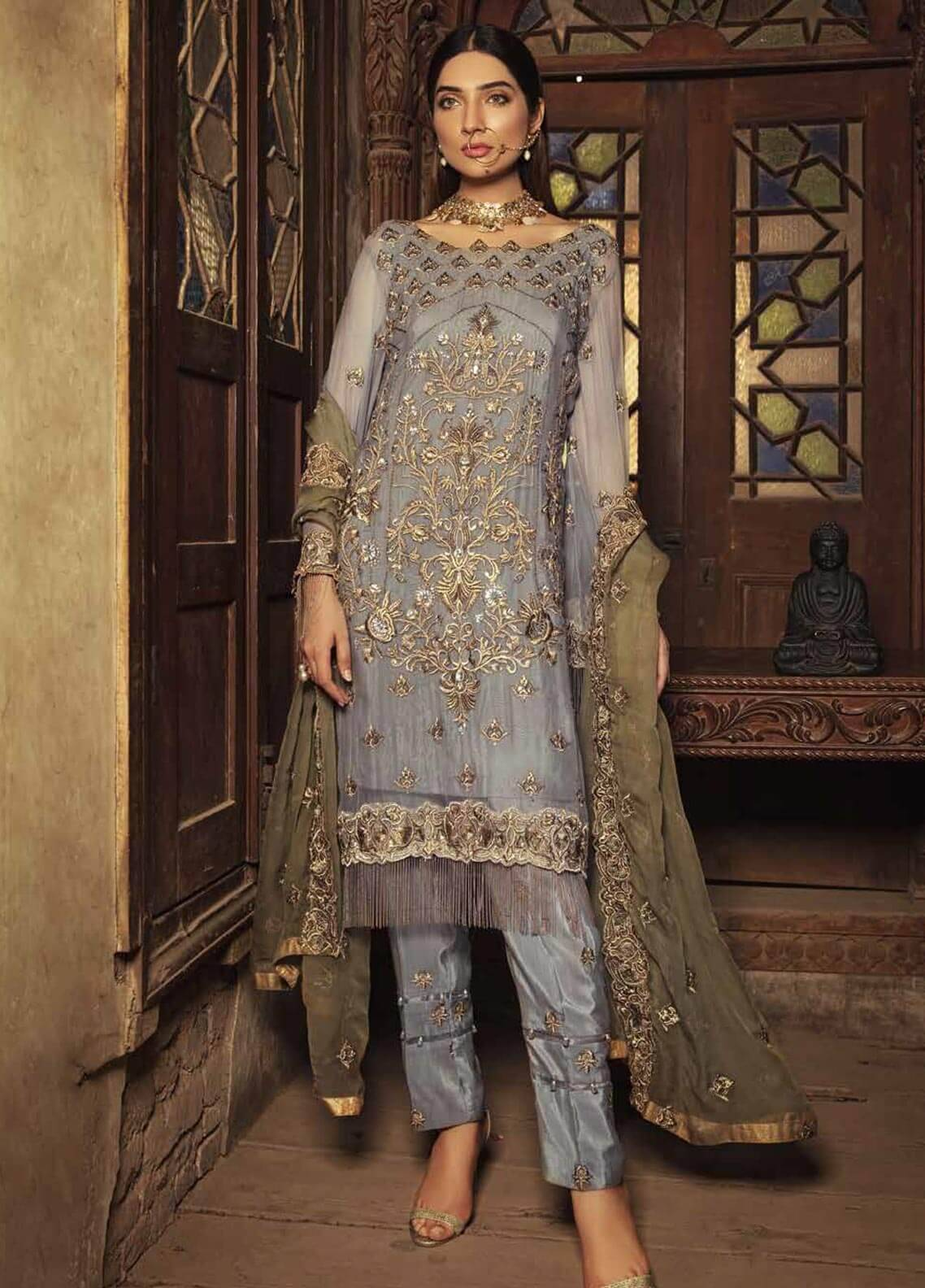 Majestic By Embroyal Embroidered Chiffon Unstitched 3 Piece Suit MJE18W 01 - Wedding Collection