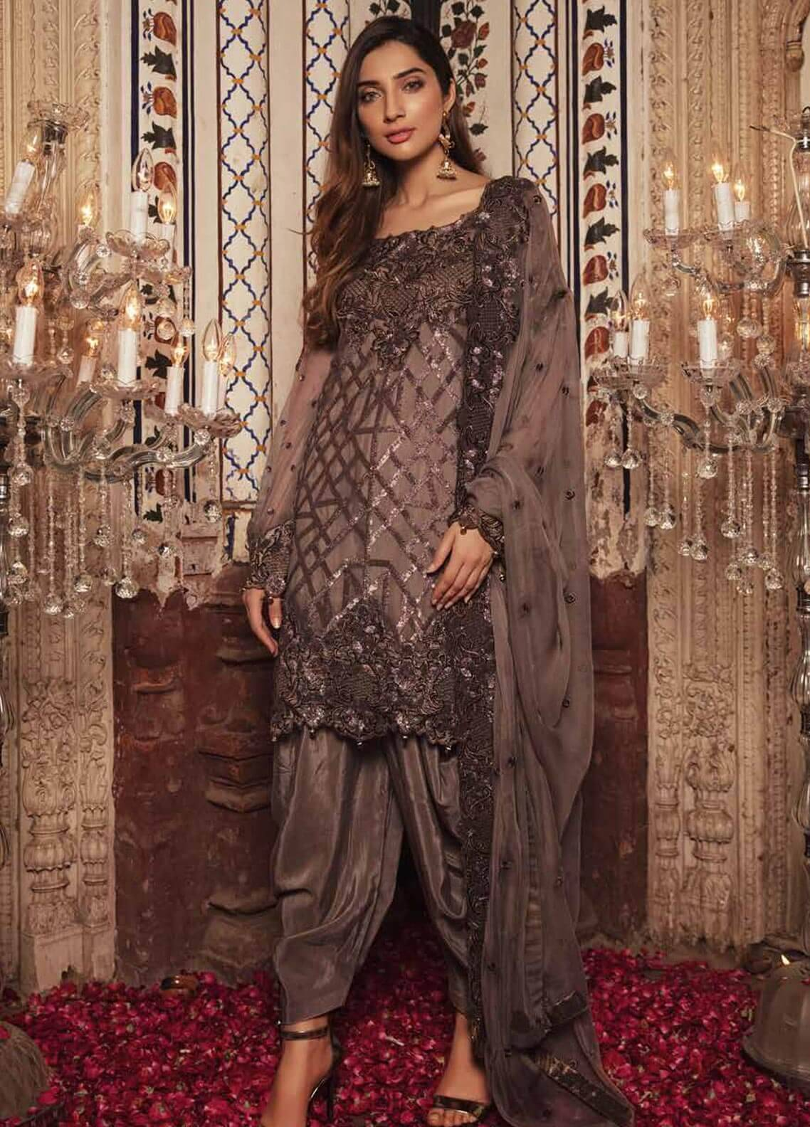 Majestic By Embroyal Embroidered Chiffon Unstitched 3 Piece Suit MJE18W 02 - Wedding Collection