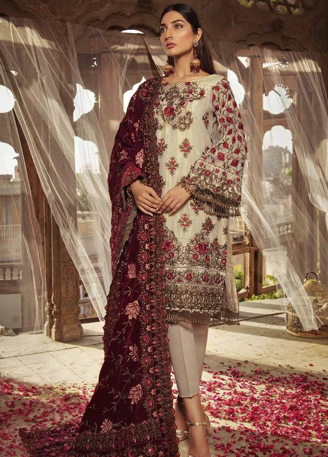 Majestic By Embroyal Embroidered Messouri Unstitched 3 Piece Suit MJE18W 03 - Wedding Collection