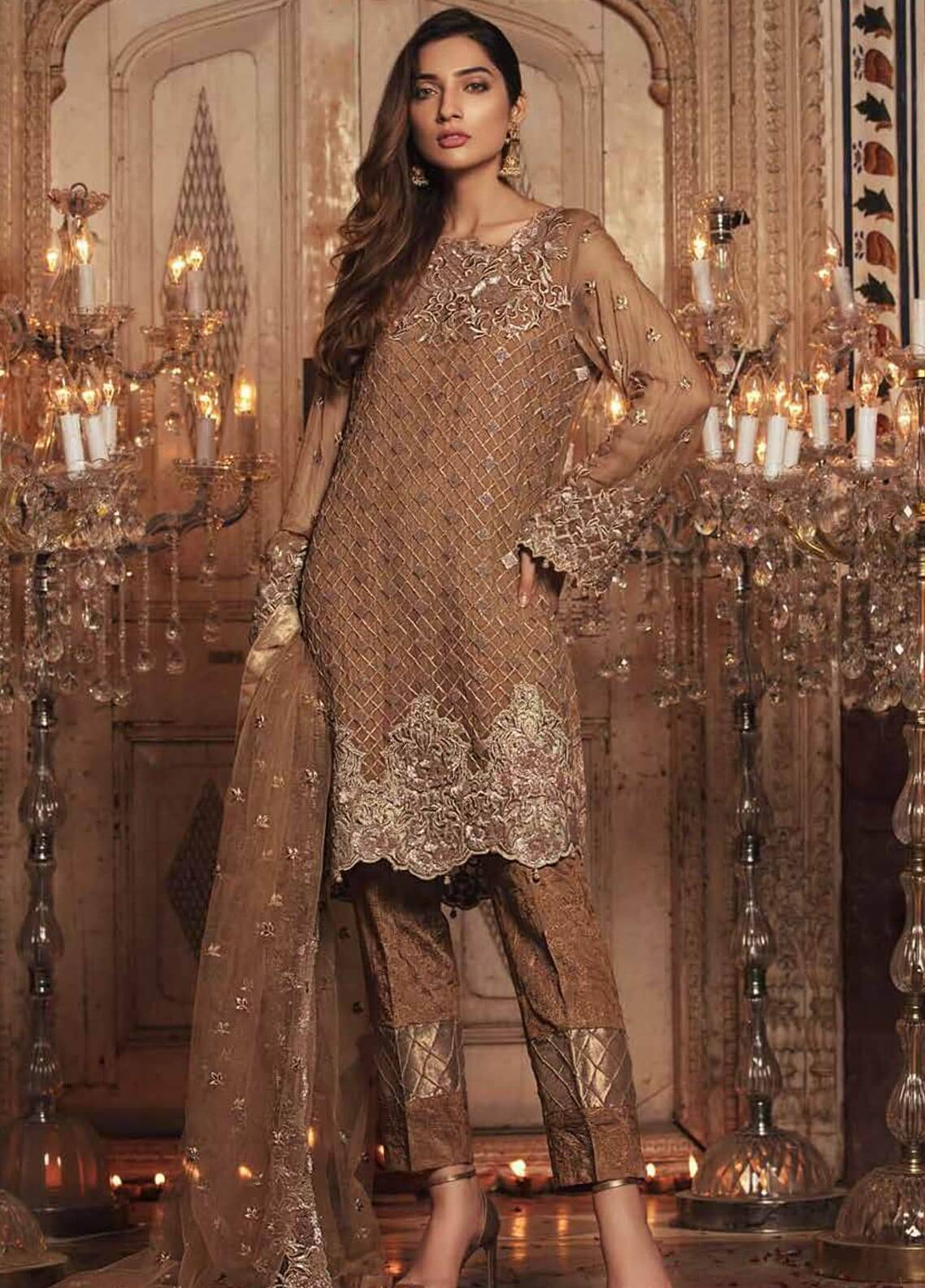 Majestic By Embroyal Embroidered Chiffon Unstitched 3 Piece Suit MJE18W 04 - Wedding Collection
