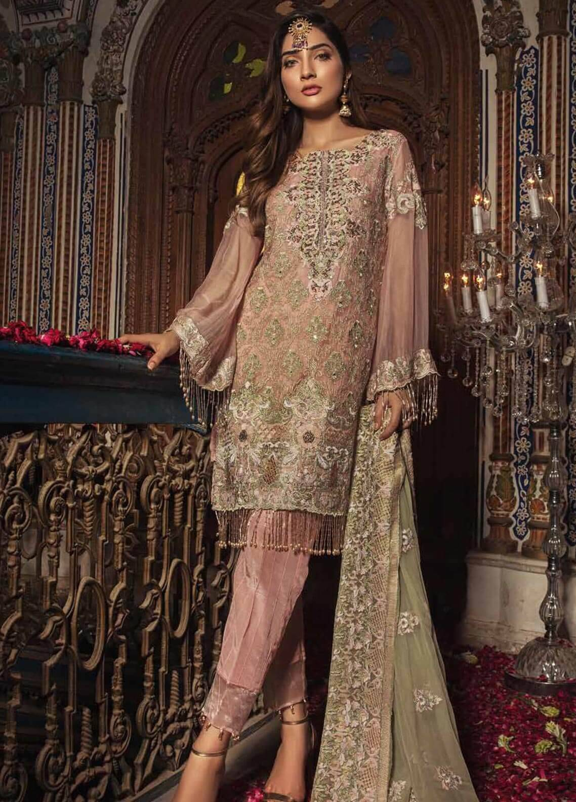 Majestic By Embroyal Embroidered Chiffon Unstitched 3 Piece Suit MJE18W 05 - Wedding Collection