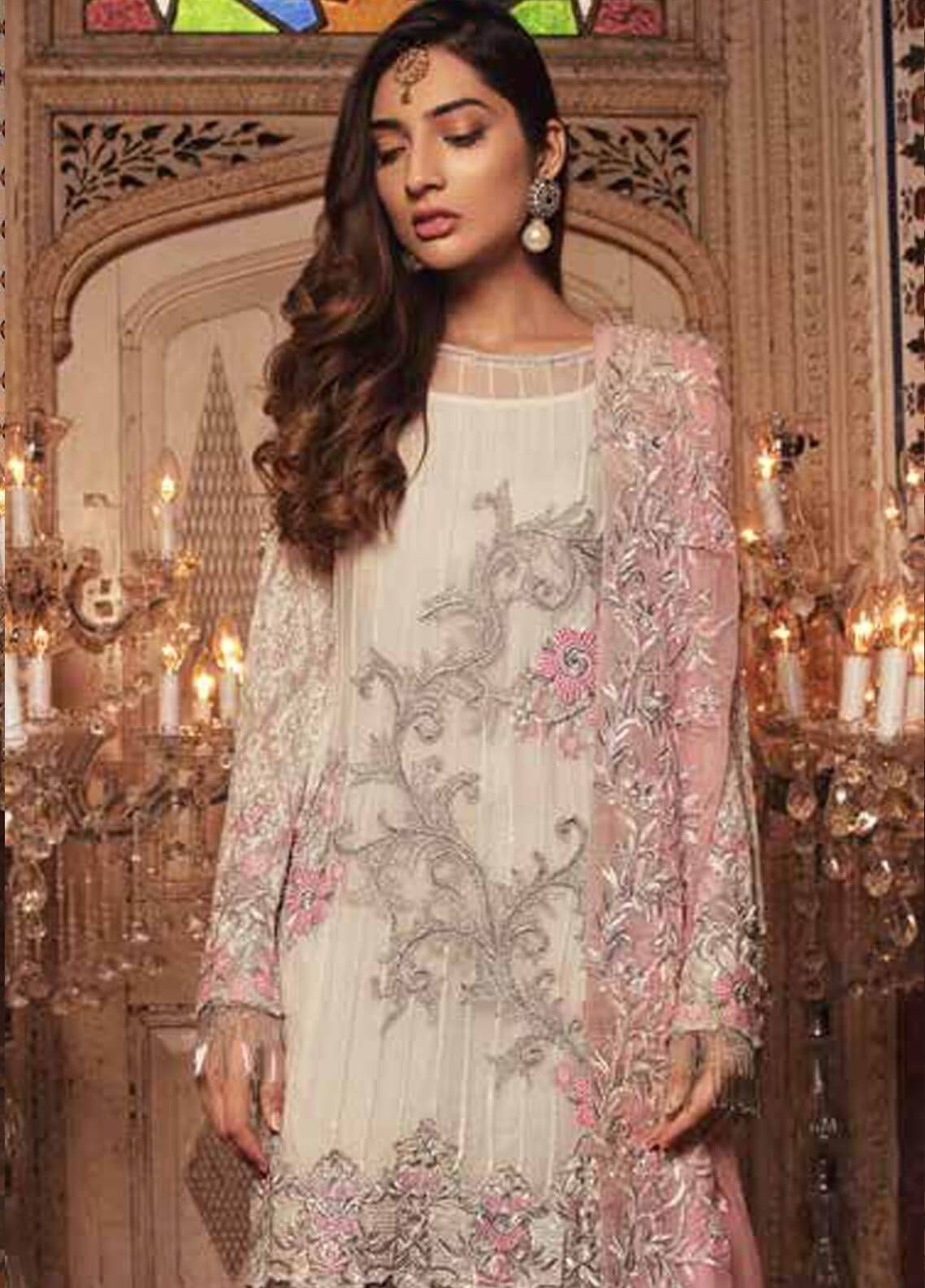 Majestic By Embroyal Embroidered Chiffon Unstitched 3 Piece Suit MJE18W 07 - Wedding Collection